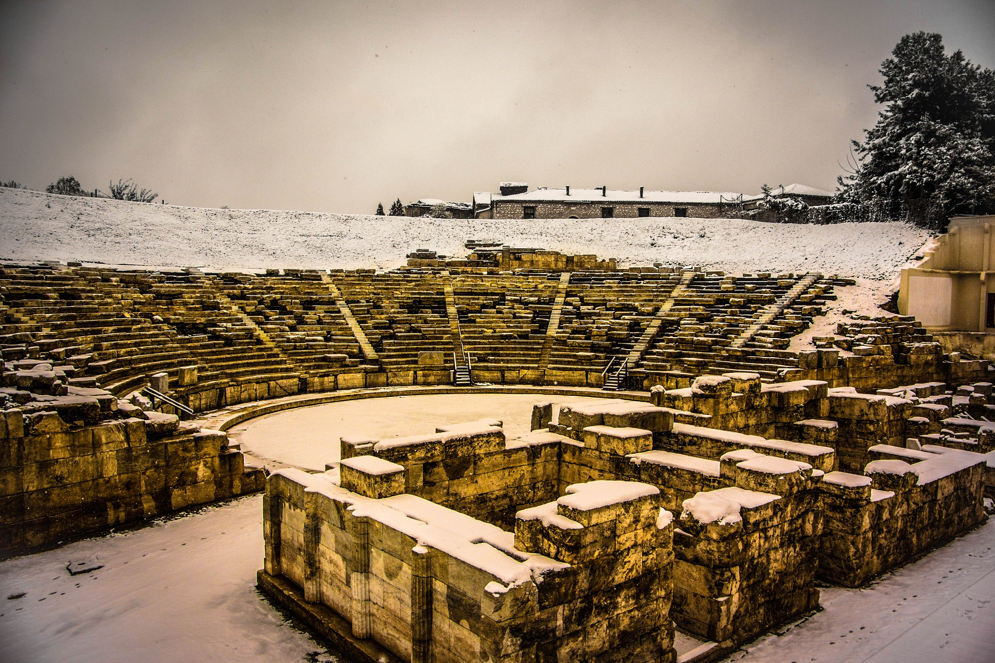 Ancient theatre covered in snow by Elias Papageorgiou (Drifter Dfr)