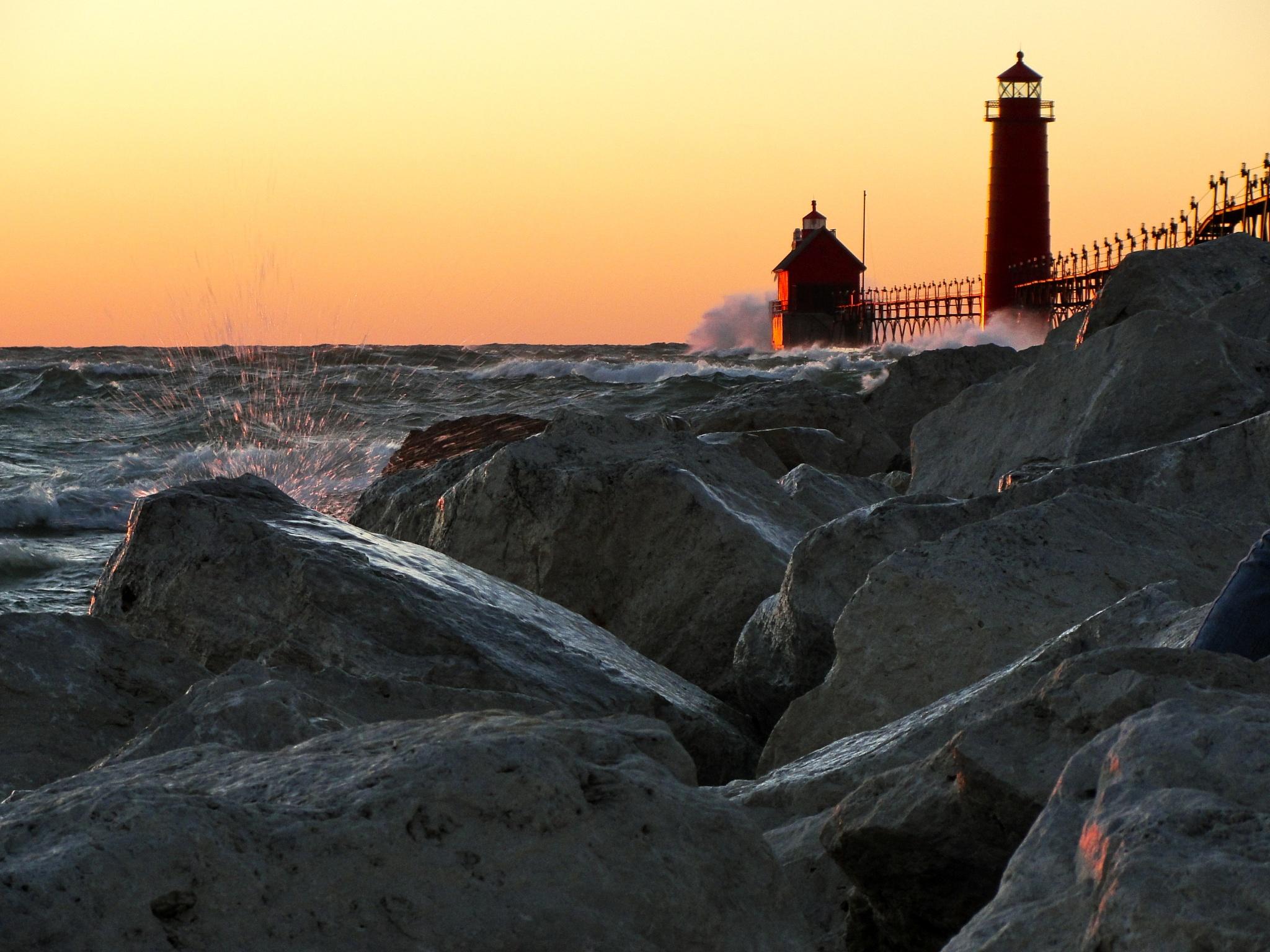 sunset lake michigan by John  Lepisto