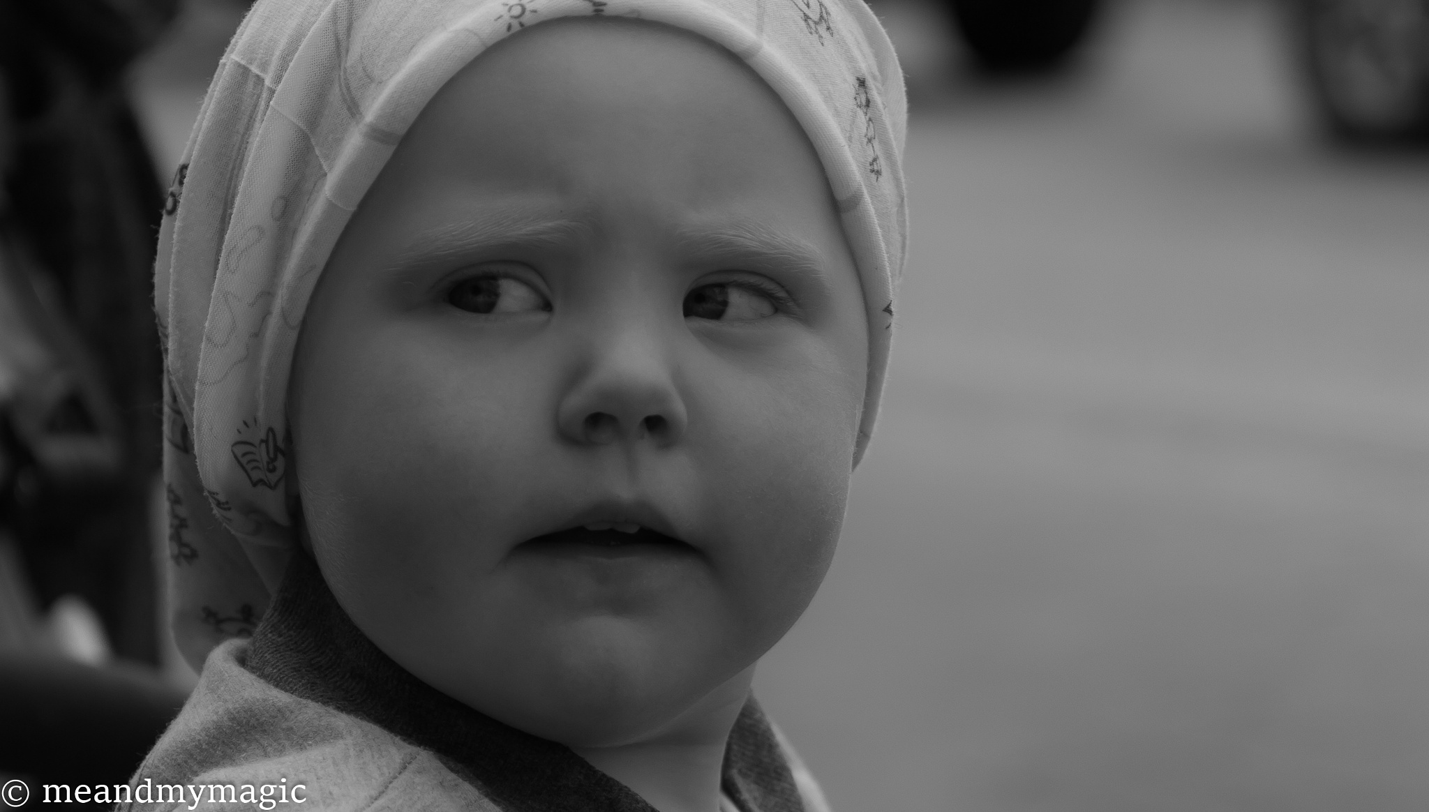 Photo in Black and White #babyface #serious #child