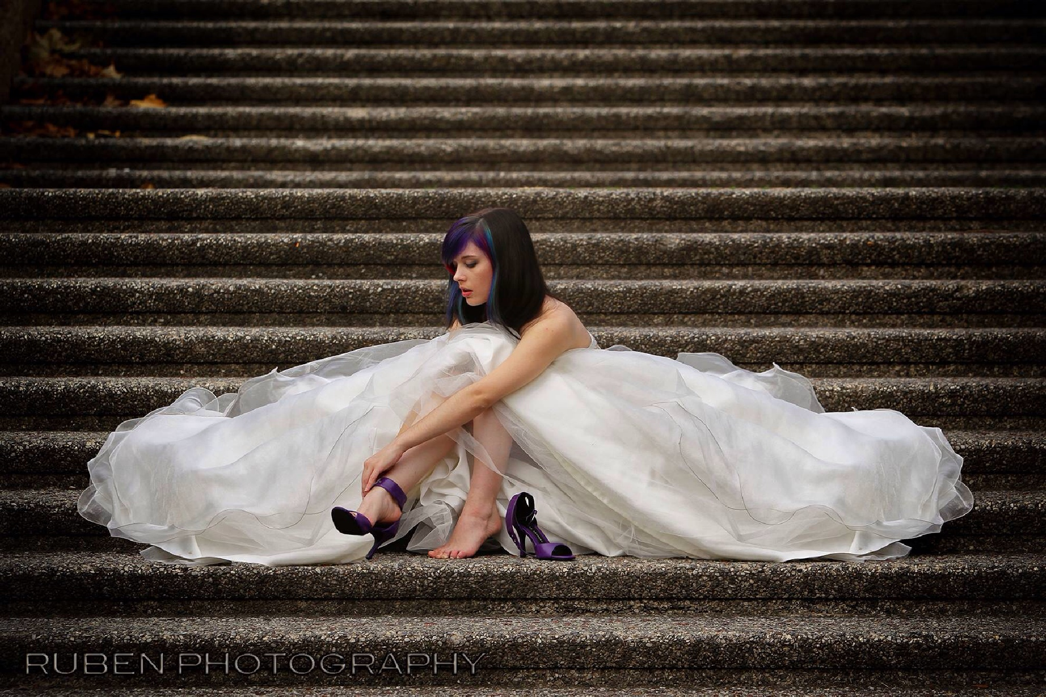 Bride and the steps  by Ruben Photography