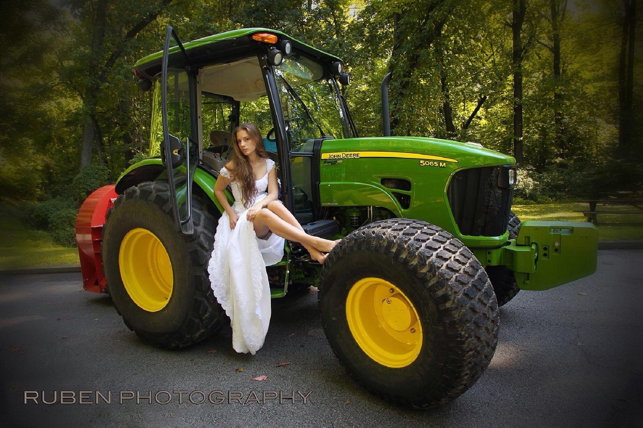 Bride and the tractor  by Ruben Photography