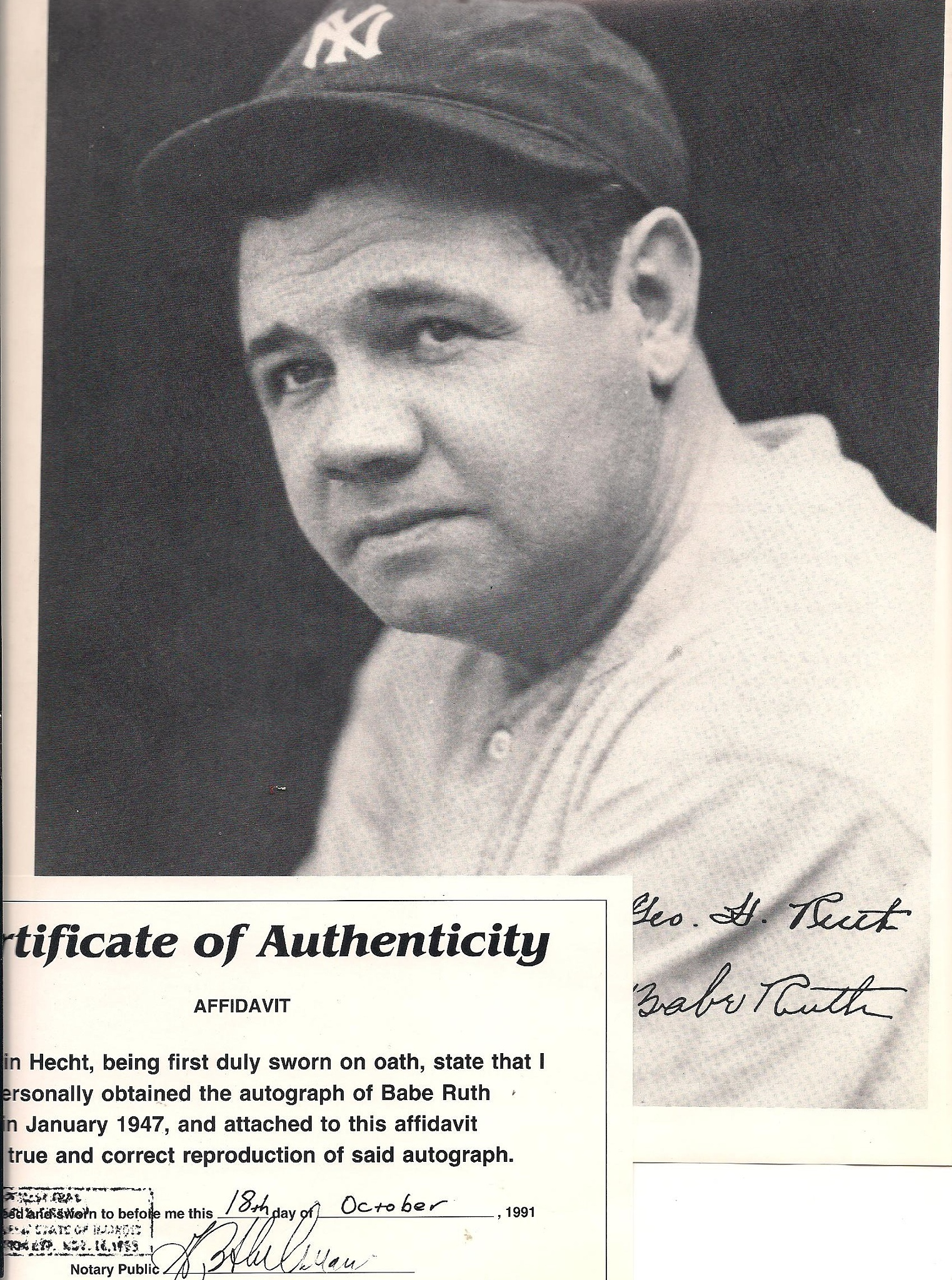 Photo in Random #autograph #reproduction #babe ruth #baseball