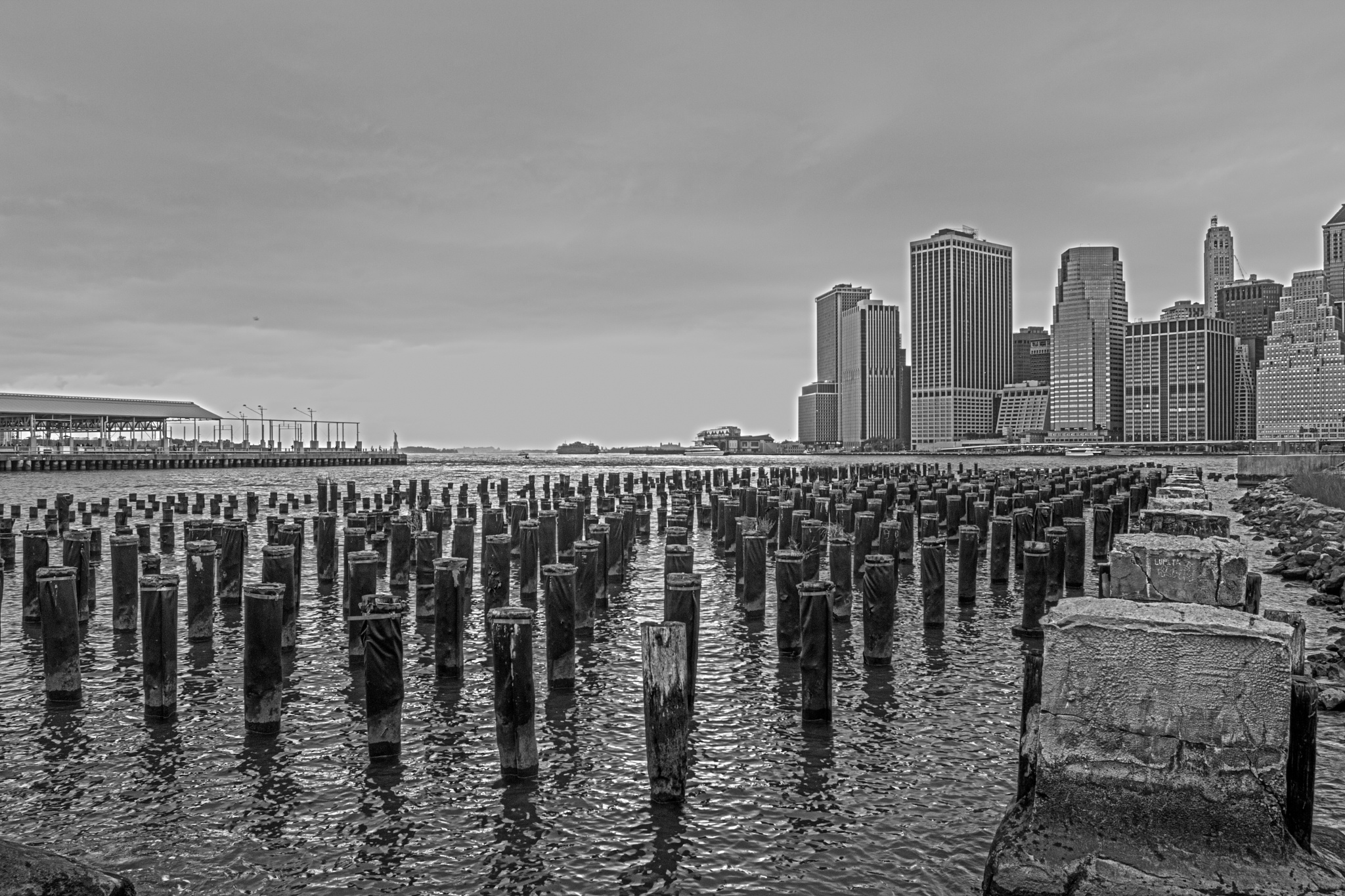 Photo in Black and White #harbor #water #clouds #new york #detail
