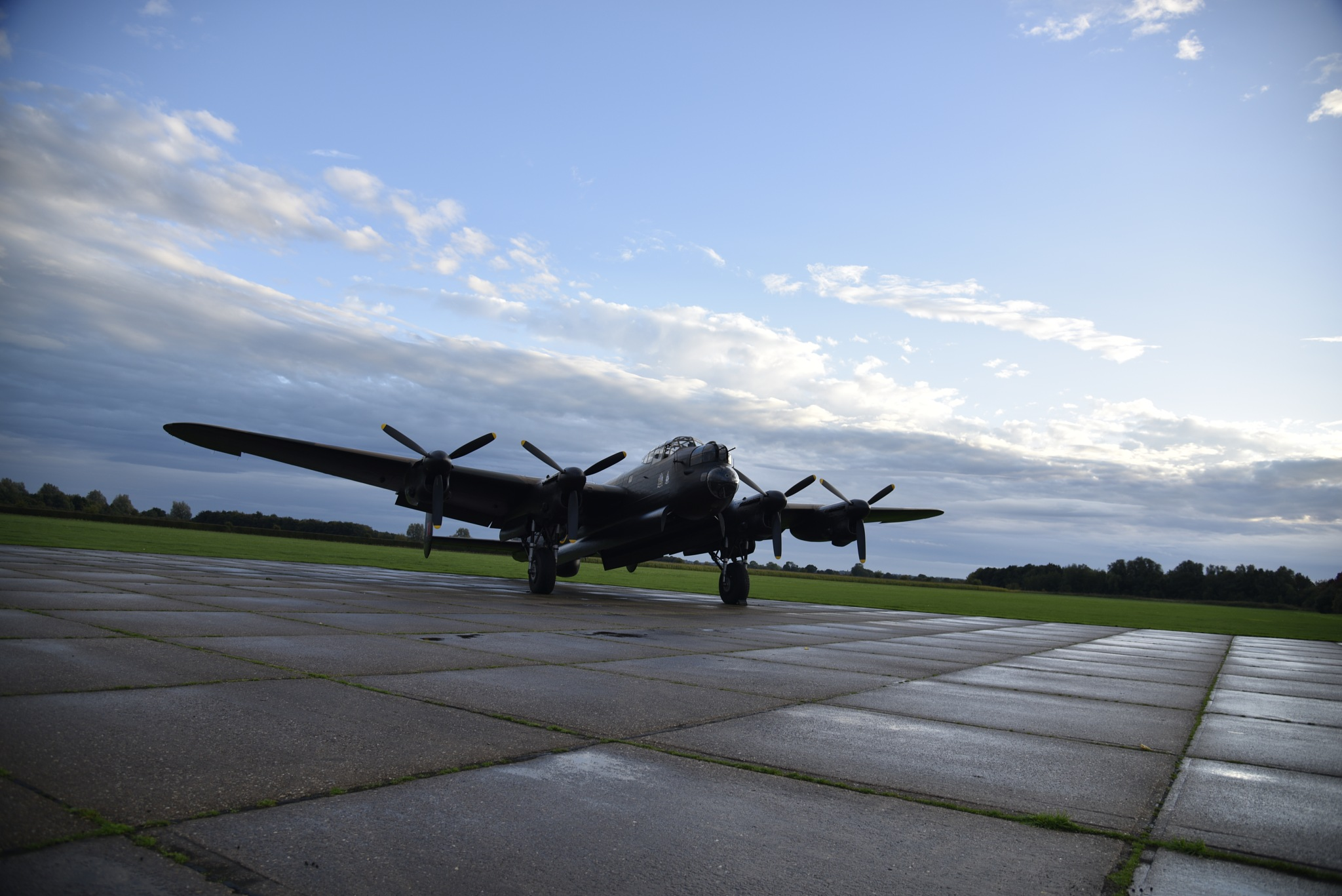 """""""Just Jane"""" A Lancaster Bomber at East Kikby Airfield. by John Cater"""
