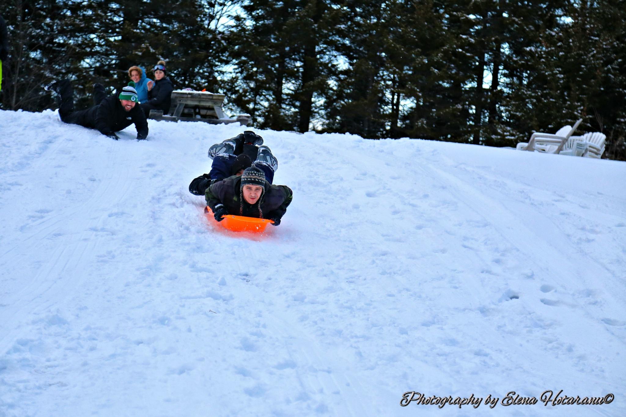 The Sledding Team goes down the hill by Elena Hotaranu