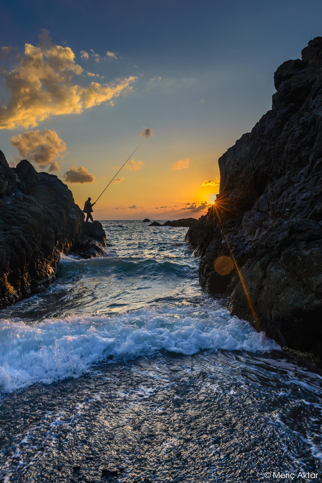 Photo in Landscape #hatay #fisherman #samandag #sunset #turkey #sea