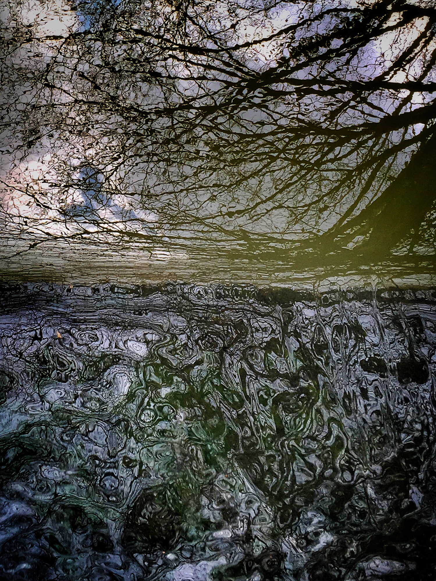 Photo in Abstract #river #water #reflections #trees #sky #clouds