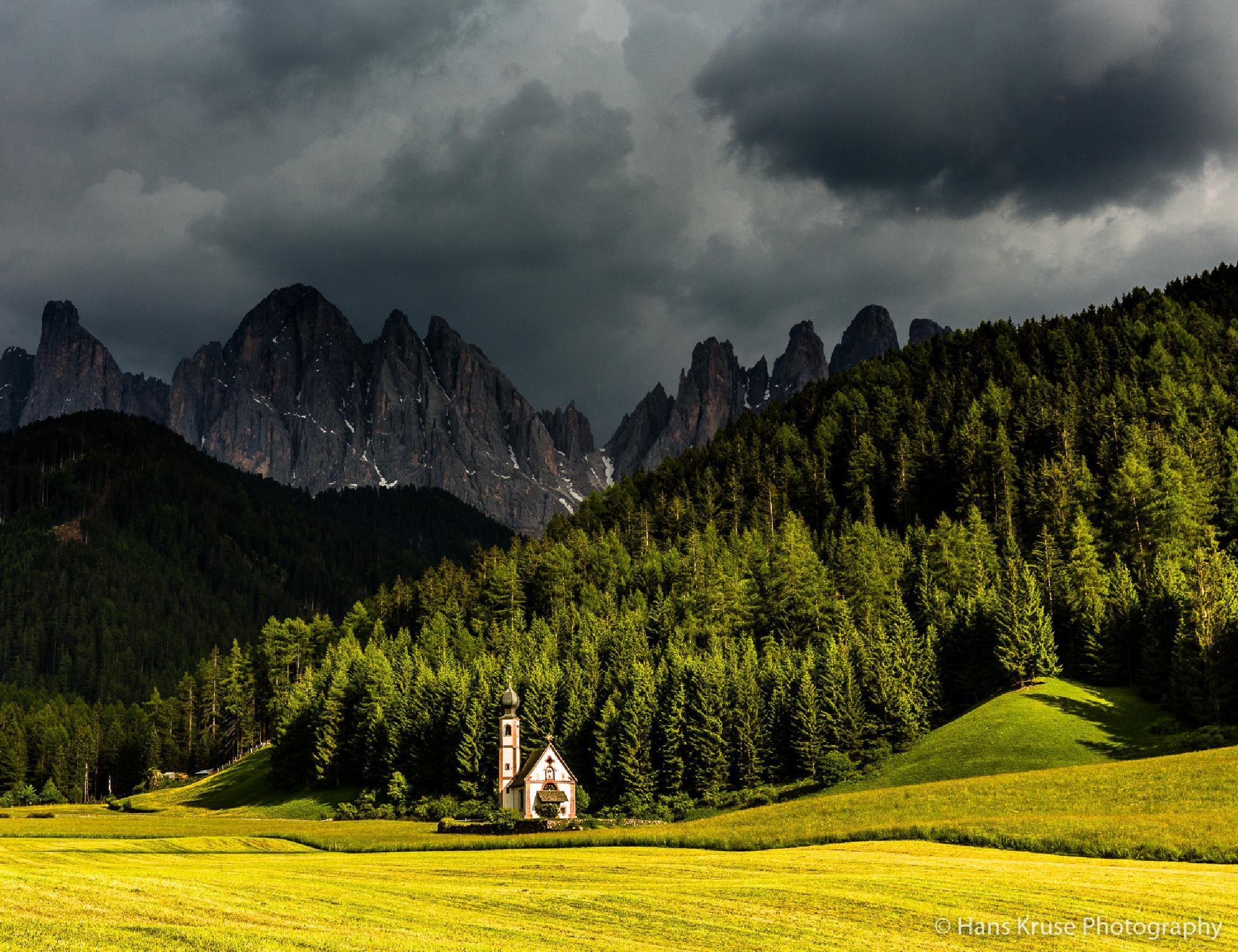 Sct. Johann church in Val di Funes by Hans Kruse
