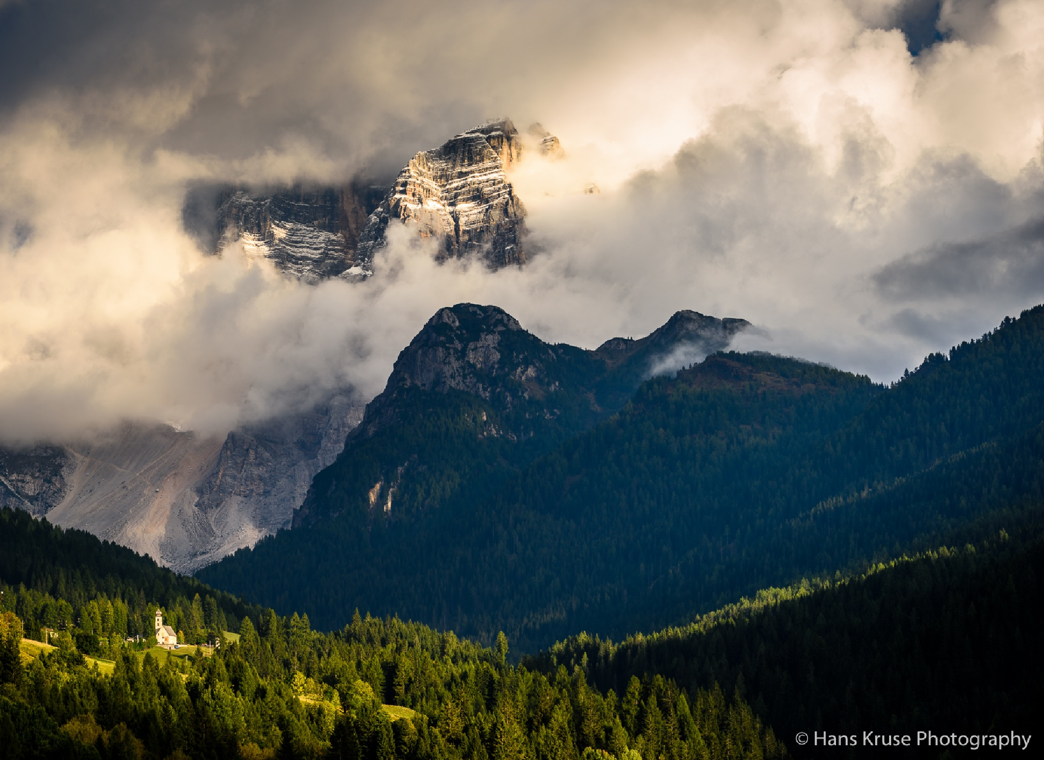 Monte Pelmo and the church by Hans Kruse