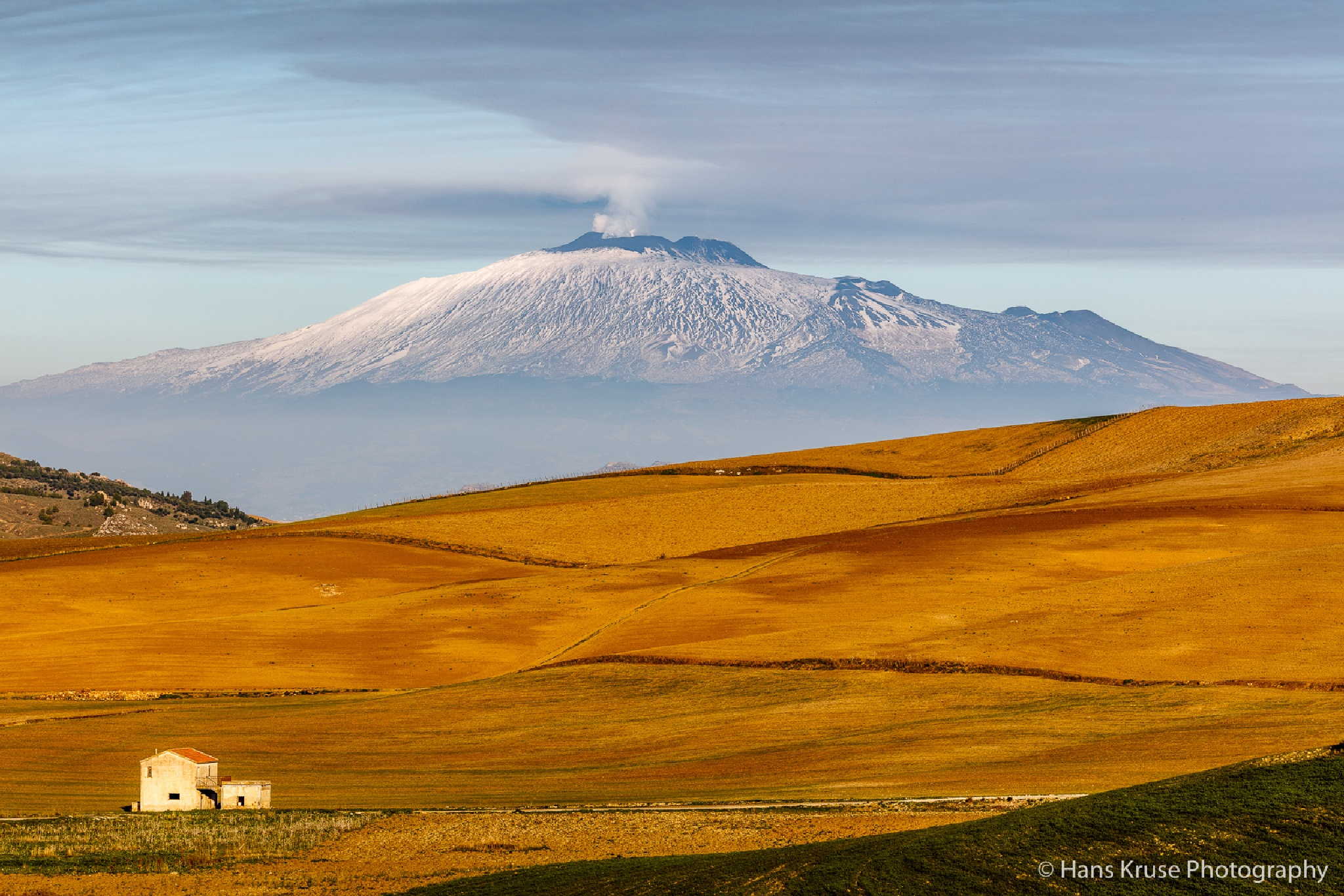 View of Etna in afternoon before the eruption by Hans Kruse