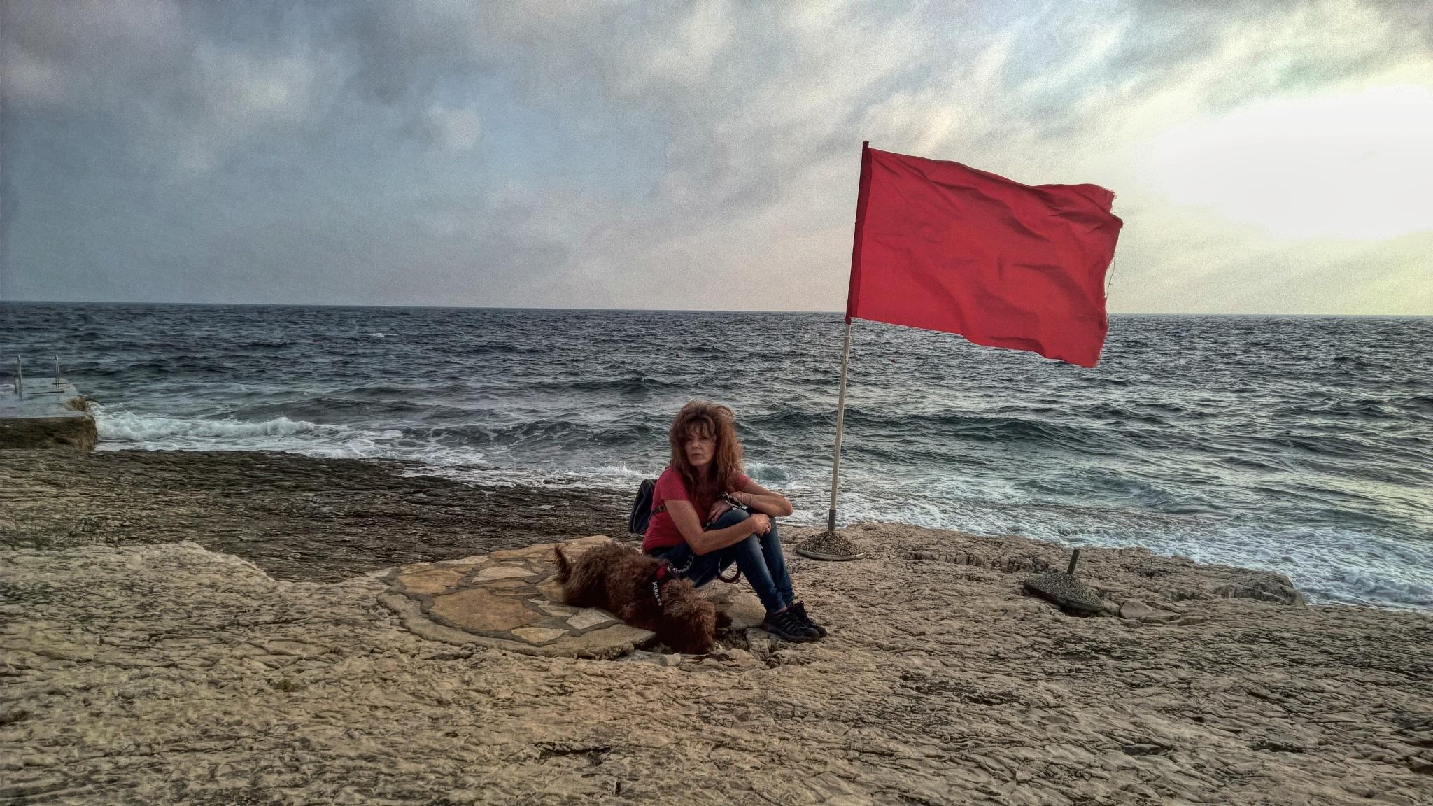 Warning: Red flag...little windy  by Maja Stein