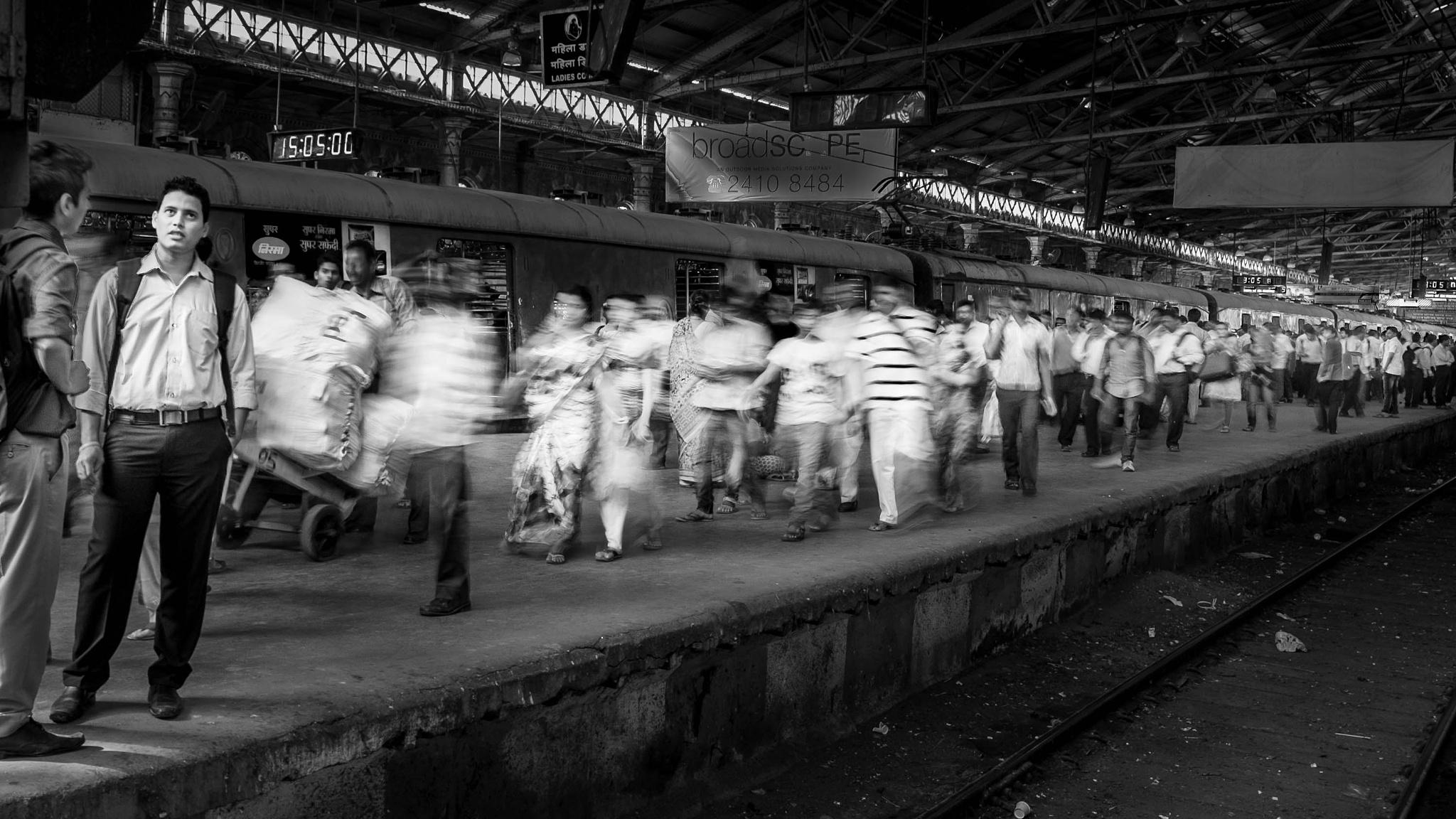 Mumbai CST railway station. by Alan J Norris