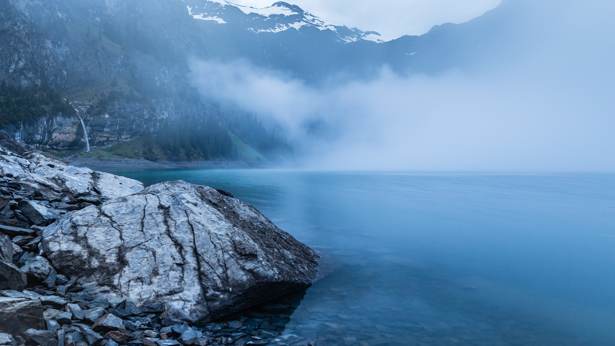Photo in Landscape #fog #lake #mountainlake #alps #swiss alps #bernese oberland #kandersteg #oeschinensee
