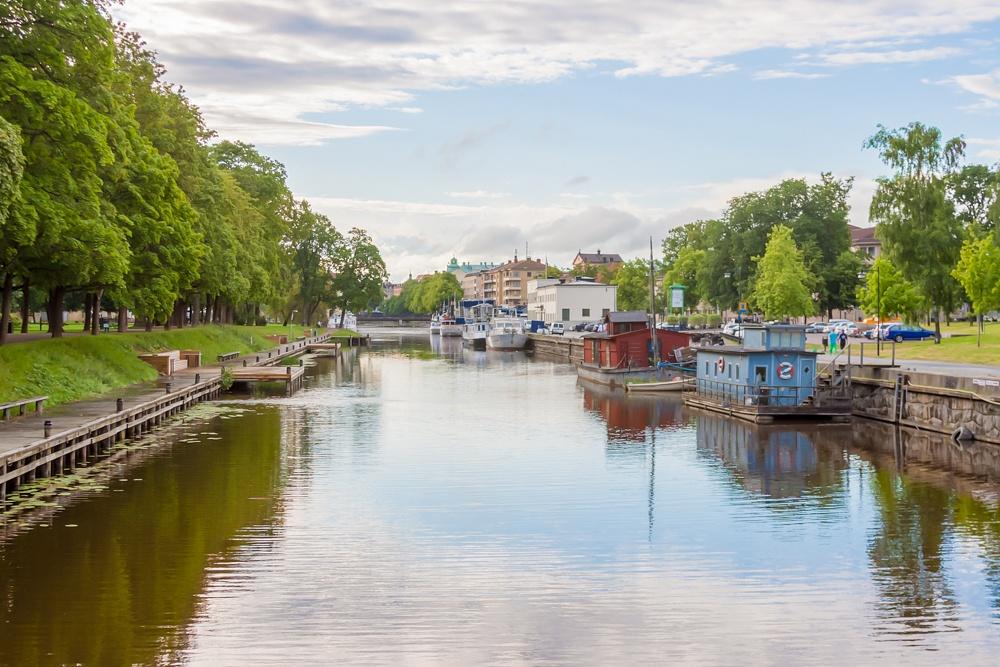 Photo in Landscape #uppsala #sweden #fyris #river #boats #hdr #summer