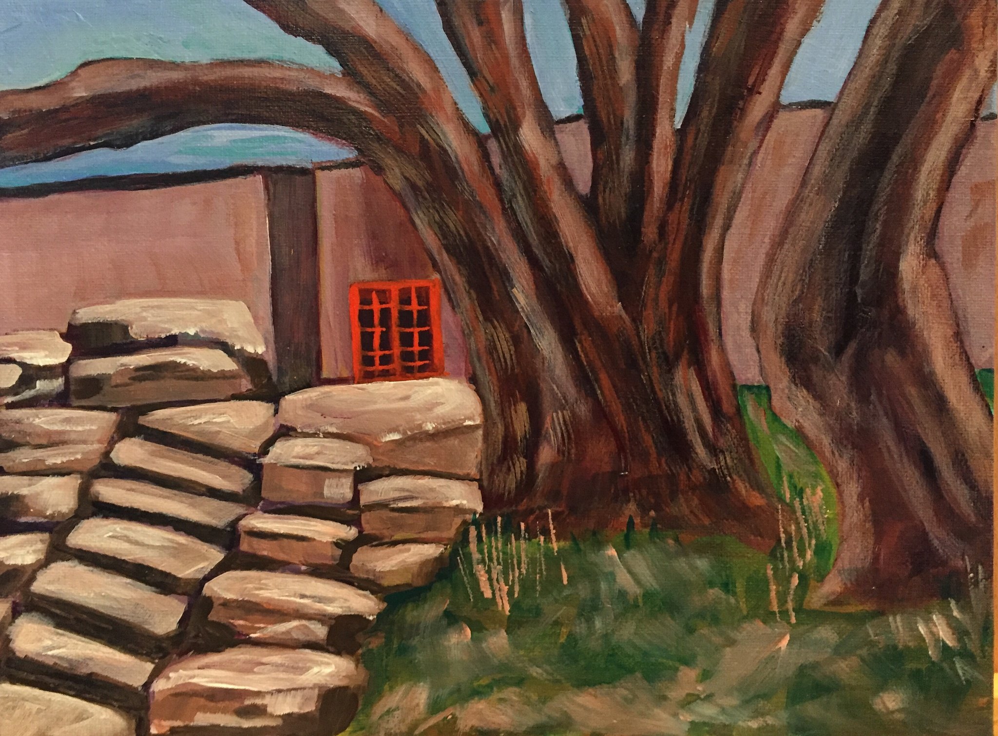 "Red Door - Acrylic Plein-air painting 9"" x 12"" by Mariellart"