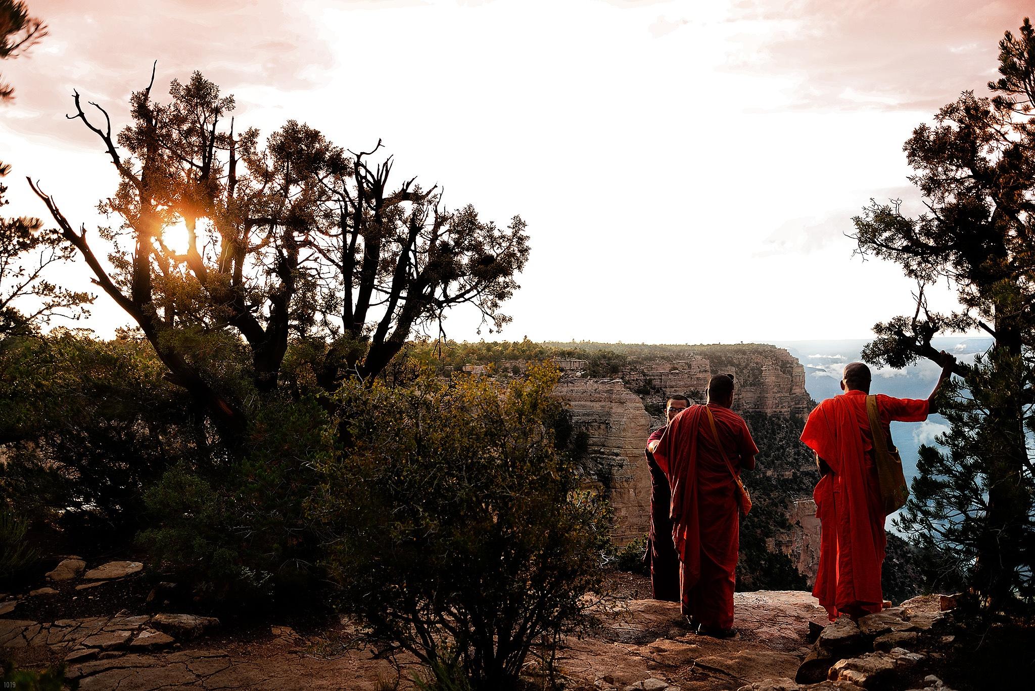"""""""BUDDHIST MONKS AT THE GRAND CANYON"""" by Jeffery Scott (1019)"""