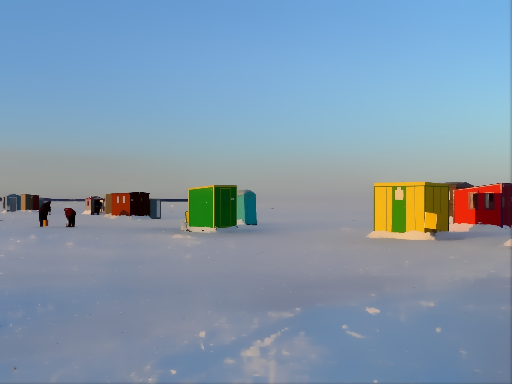 Ice fishing between sea and sky by imaginart
