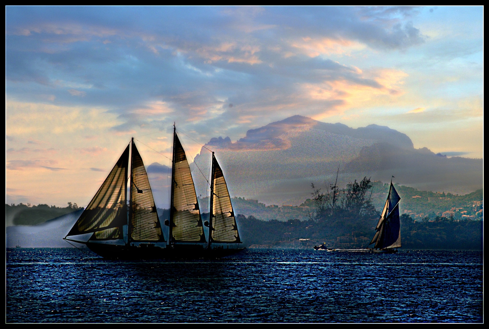 Schooner Sailing into the Fog by Tom Horonzy