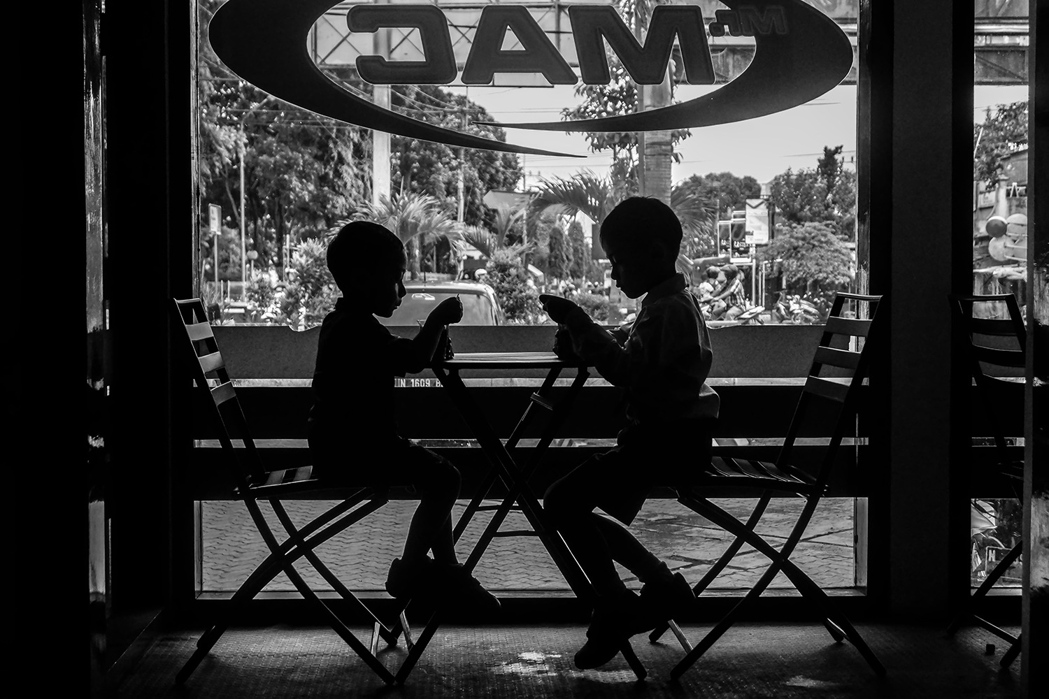 my grandsons in silhouette by Bambang