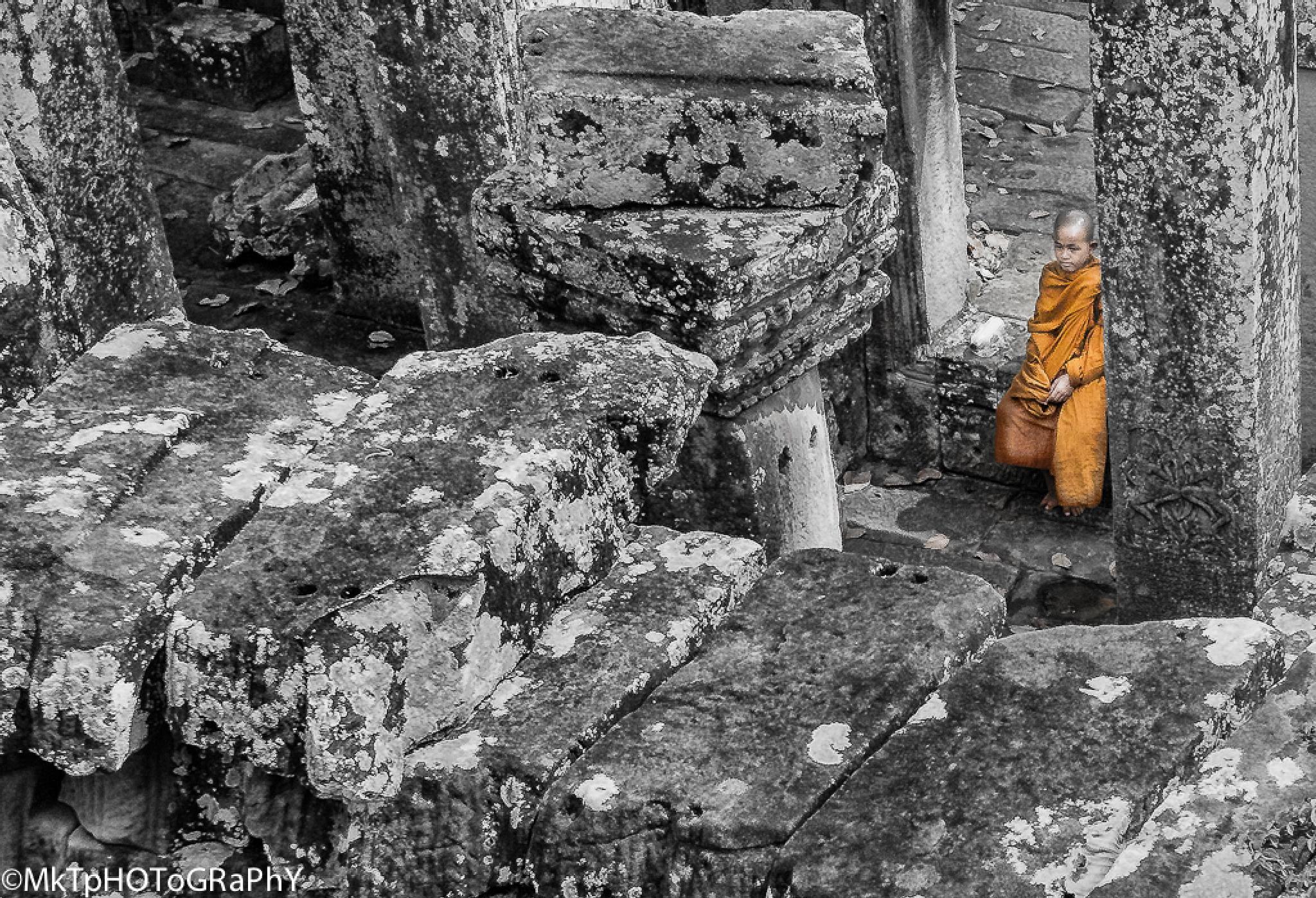 Photo in Random #cambodia #bayon temple #bayon #monk #child #boy #peace