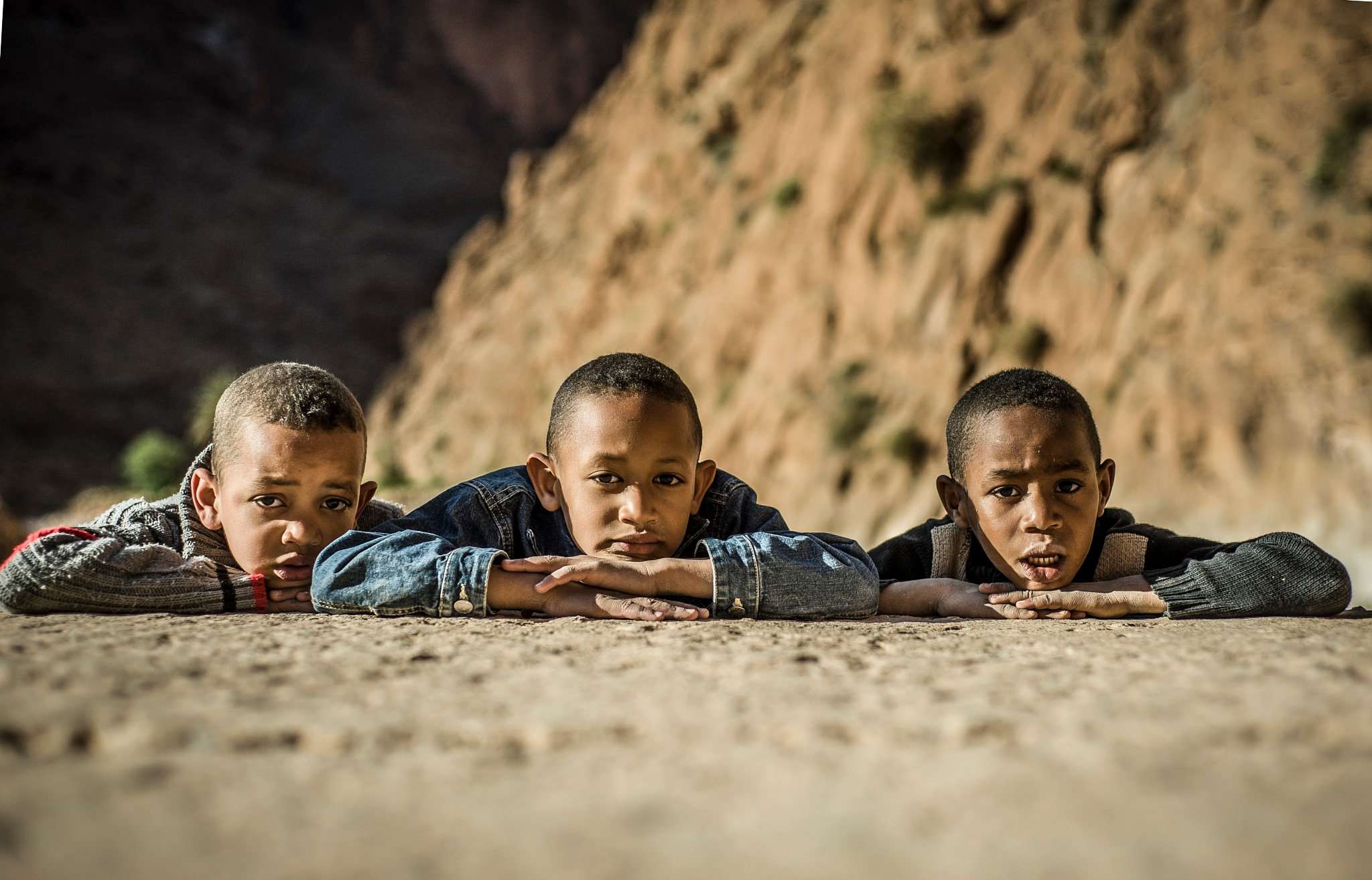three children from todra gorge by Allal Fadili