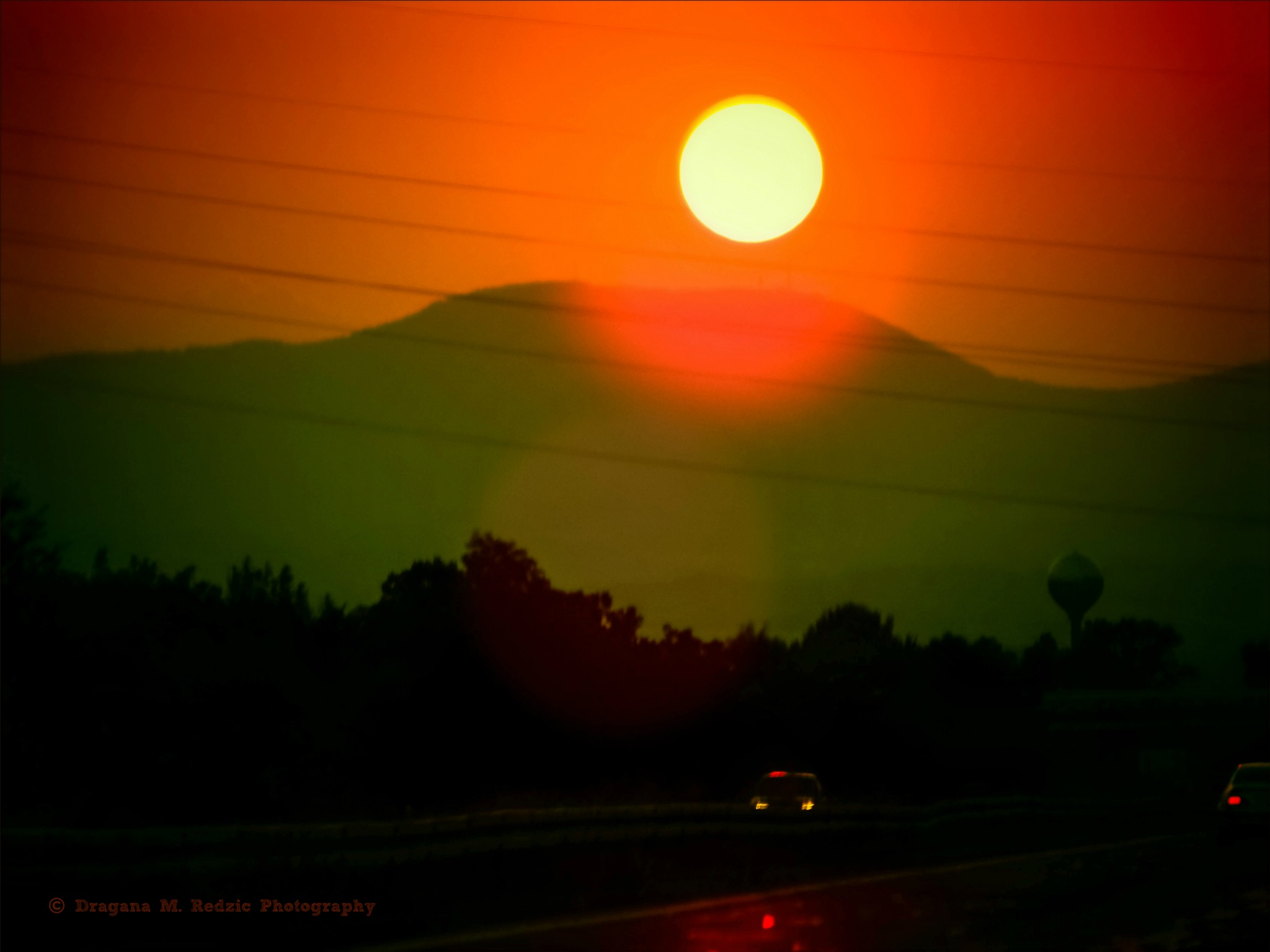 Sunset over the Serbia roads, through the glass... by Драгана М. Реџић