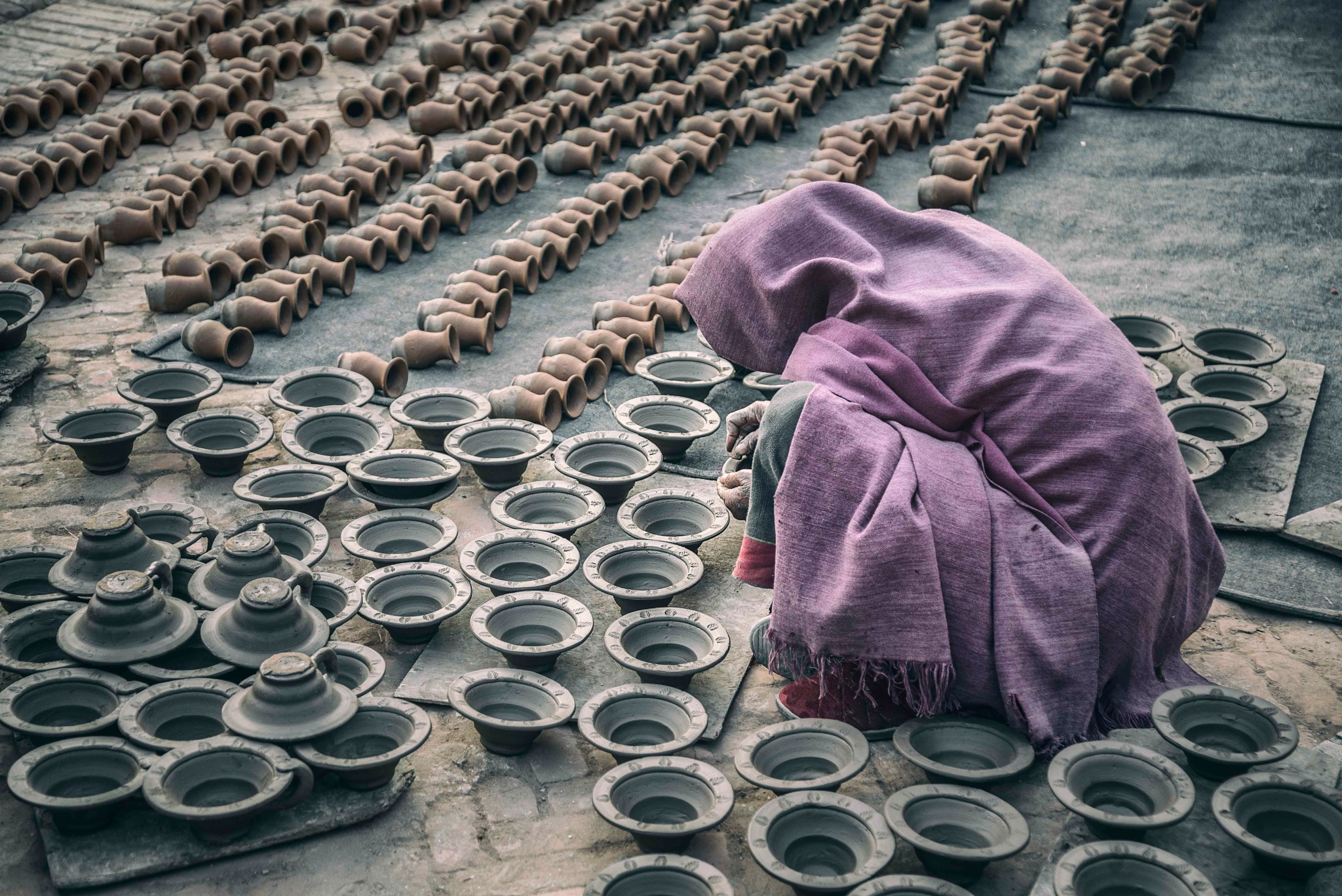 Photo in People #portrait #people #street #outdoor #pottery #factory #bhaktapur #woman #square #worker #culture #asia #photography #place #asian #one person #ethnicity #nepal #full length #work #nikon