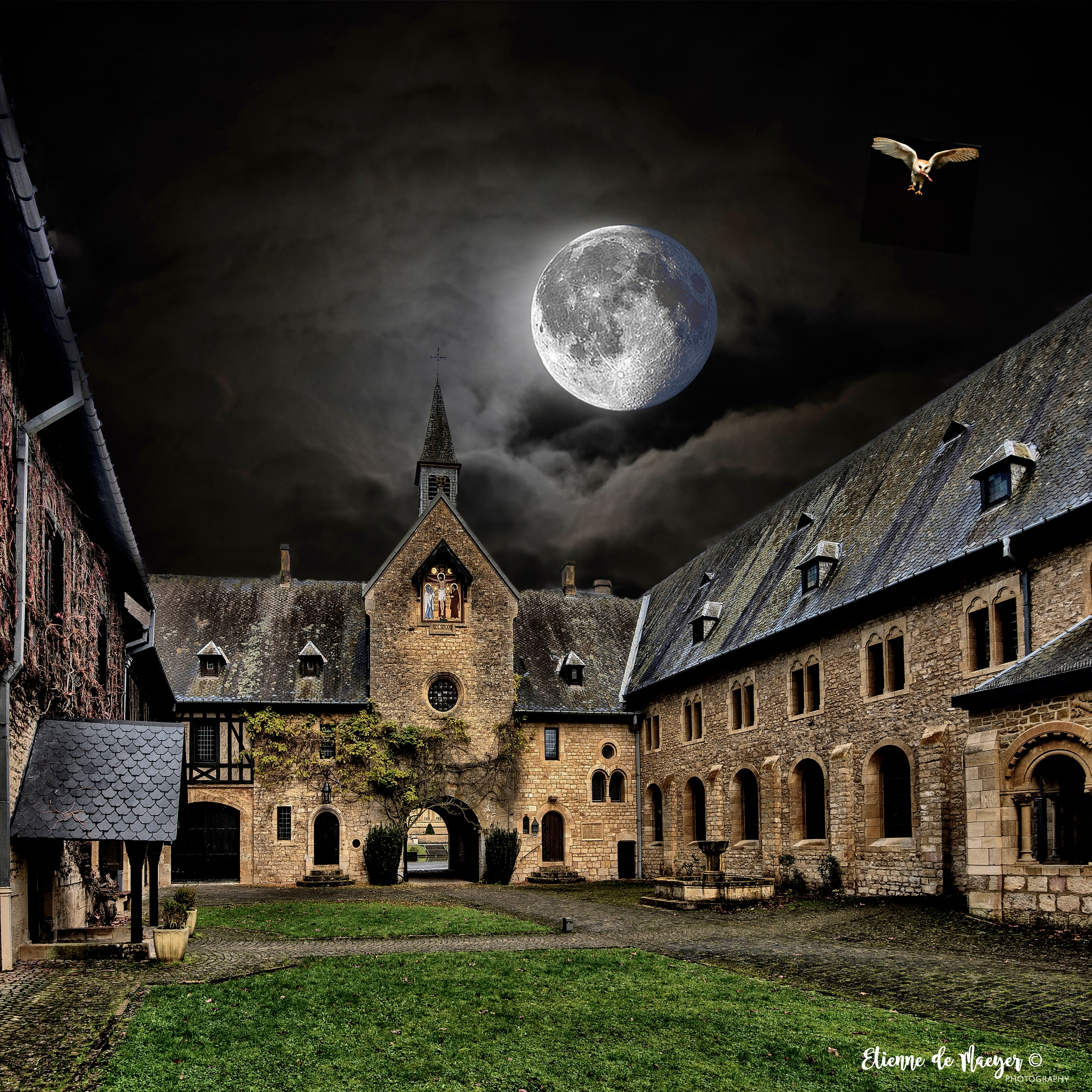 Orval under a shining moon by Etienne de Maeyer