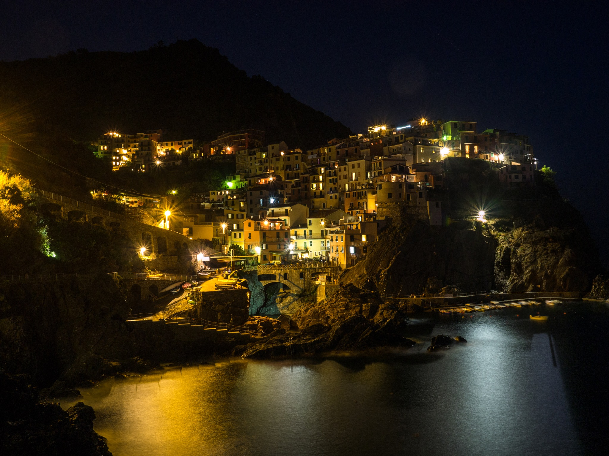 Manarola - Cinque Terre at night by Werner Hofmann