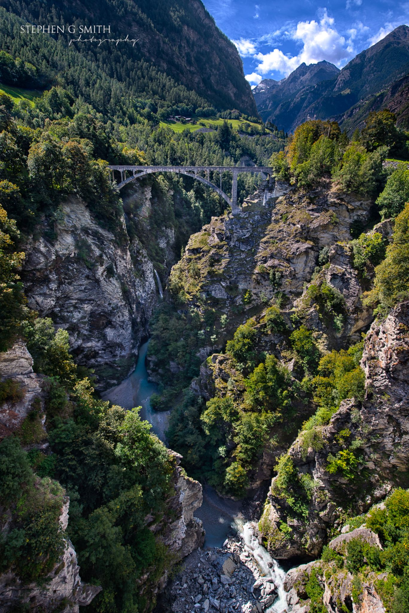 Crossing the gorge Valais Switzerland by Stephen G Smith Photography