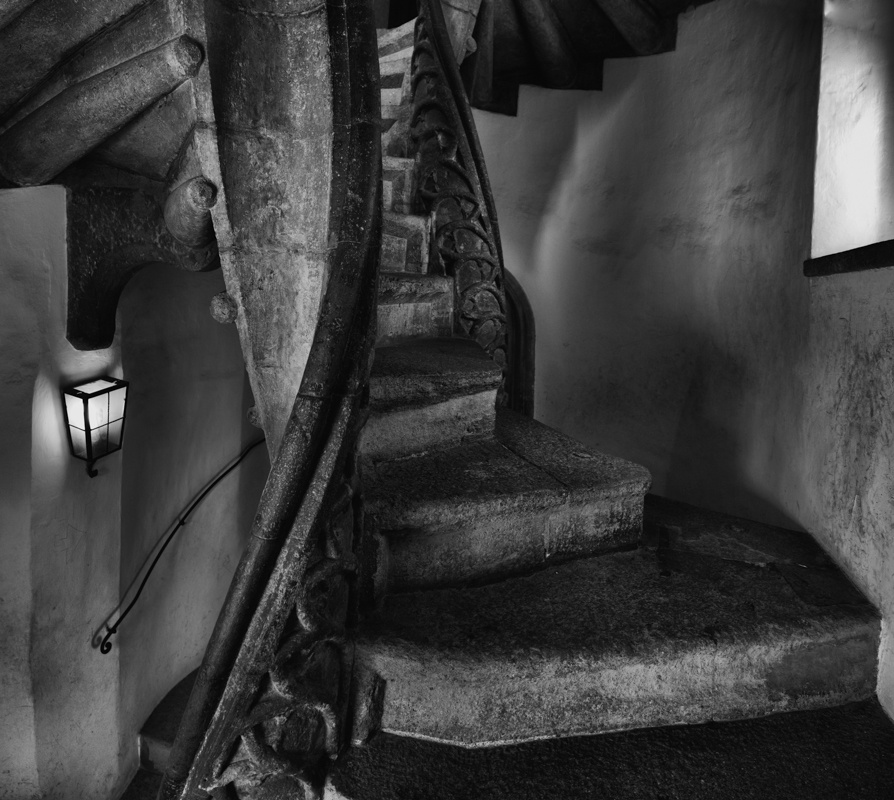 Photo in Black and White #black #white #double #spiral #stair #graz #quirtmair