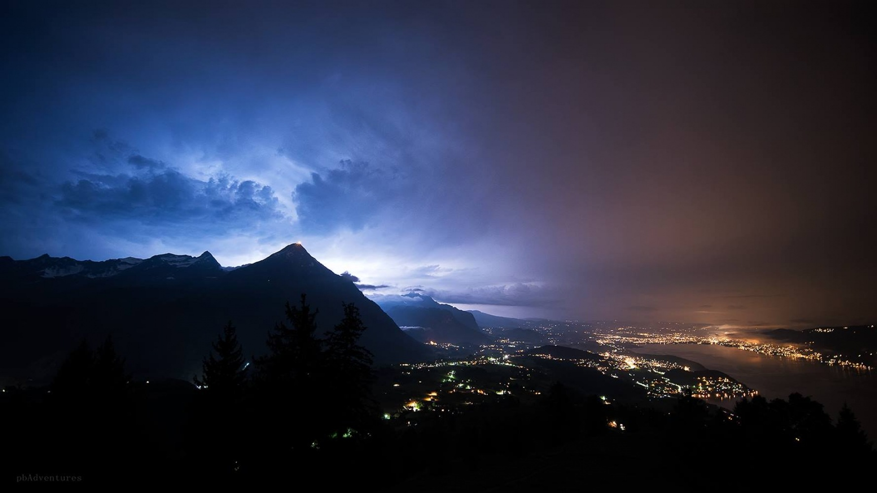 Thunder storm over Thun by BurnPhotography