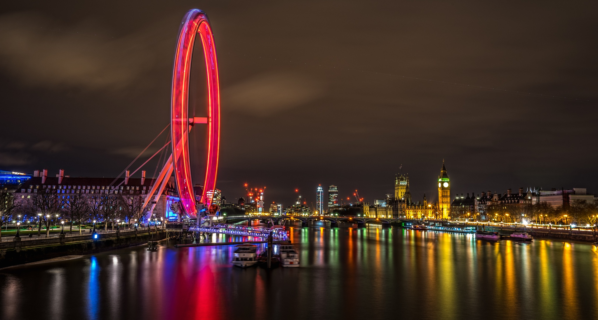 Photo in Cityscape #london #eye #river #thames #night #long exposure #reflections #color