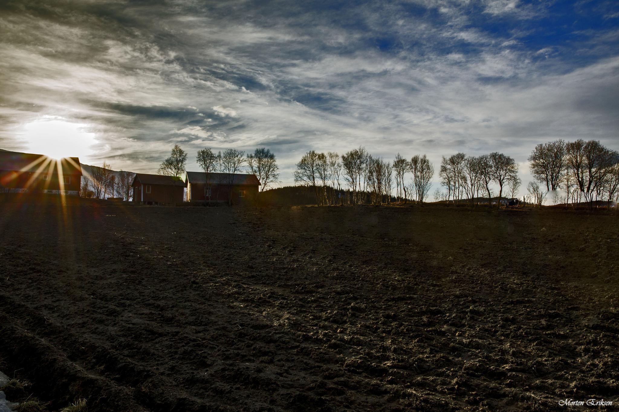 House on plowed ground by Morten Eriksen