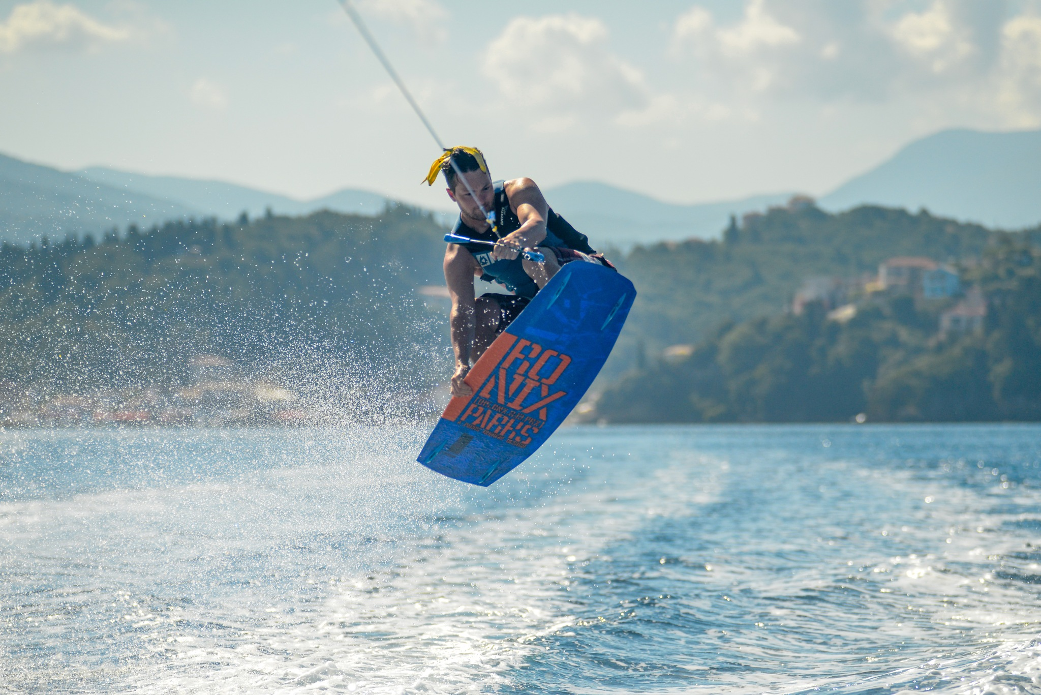 Photo in Sports #banana #wakeboard #sport #action #sea #water #grab