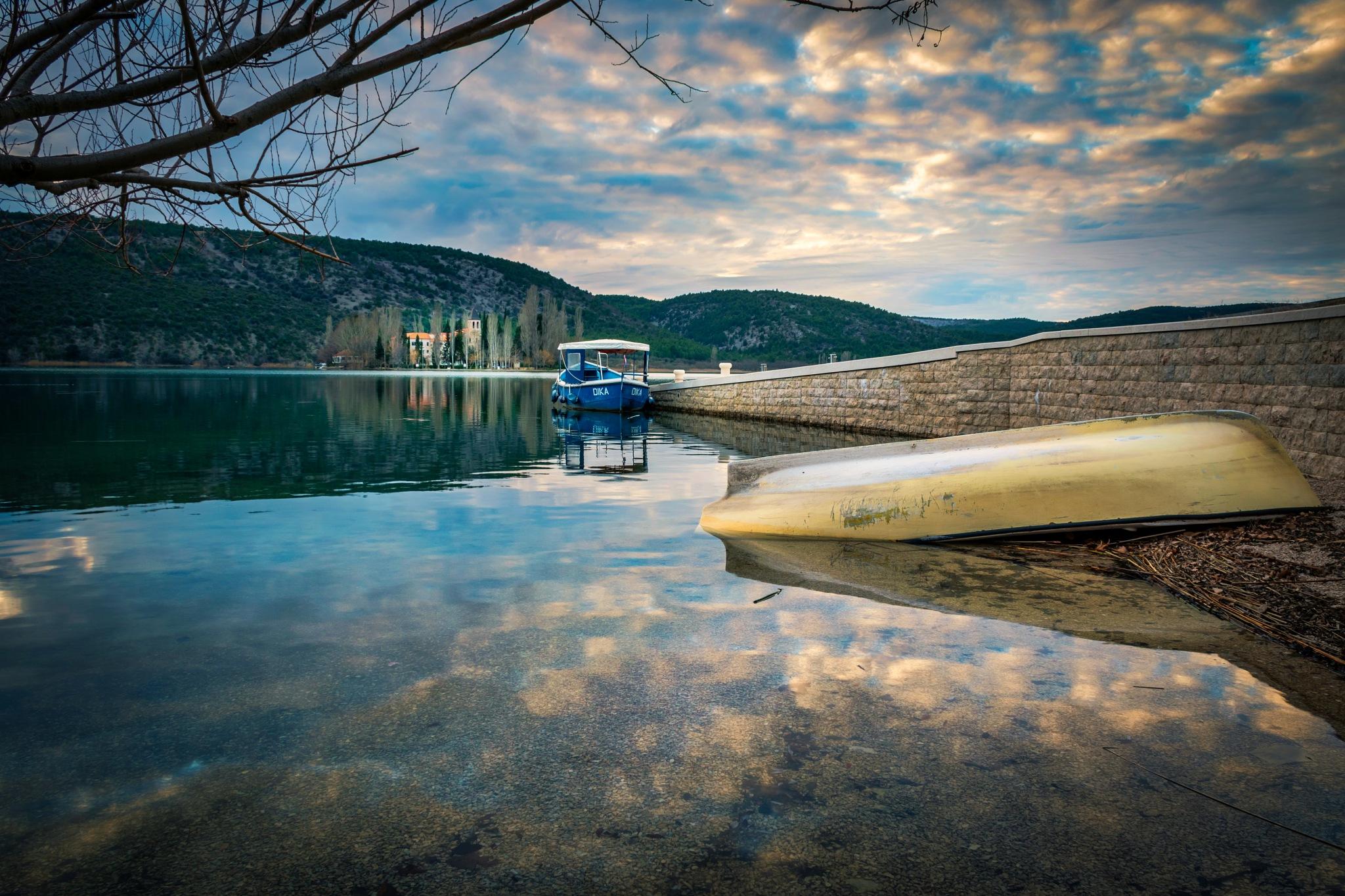 Photo in Landscape #lake #visovac #dalmatia #croatia #sunset #dusk #colors #cloud #clouds #island #boat #river #pier #boats #water #nature #landscape