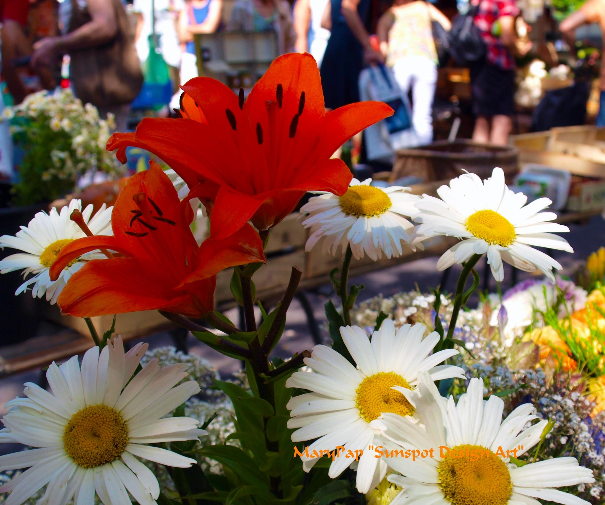 flowers in the market by Mary Pap