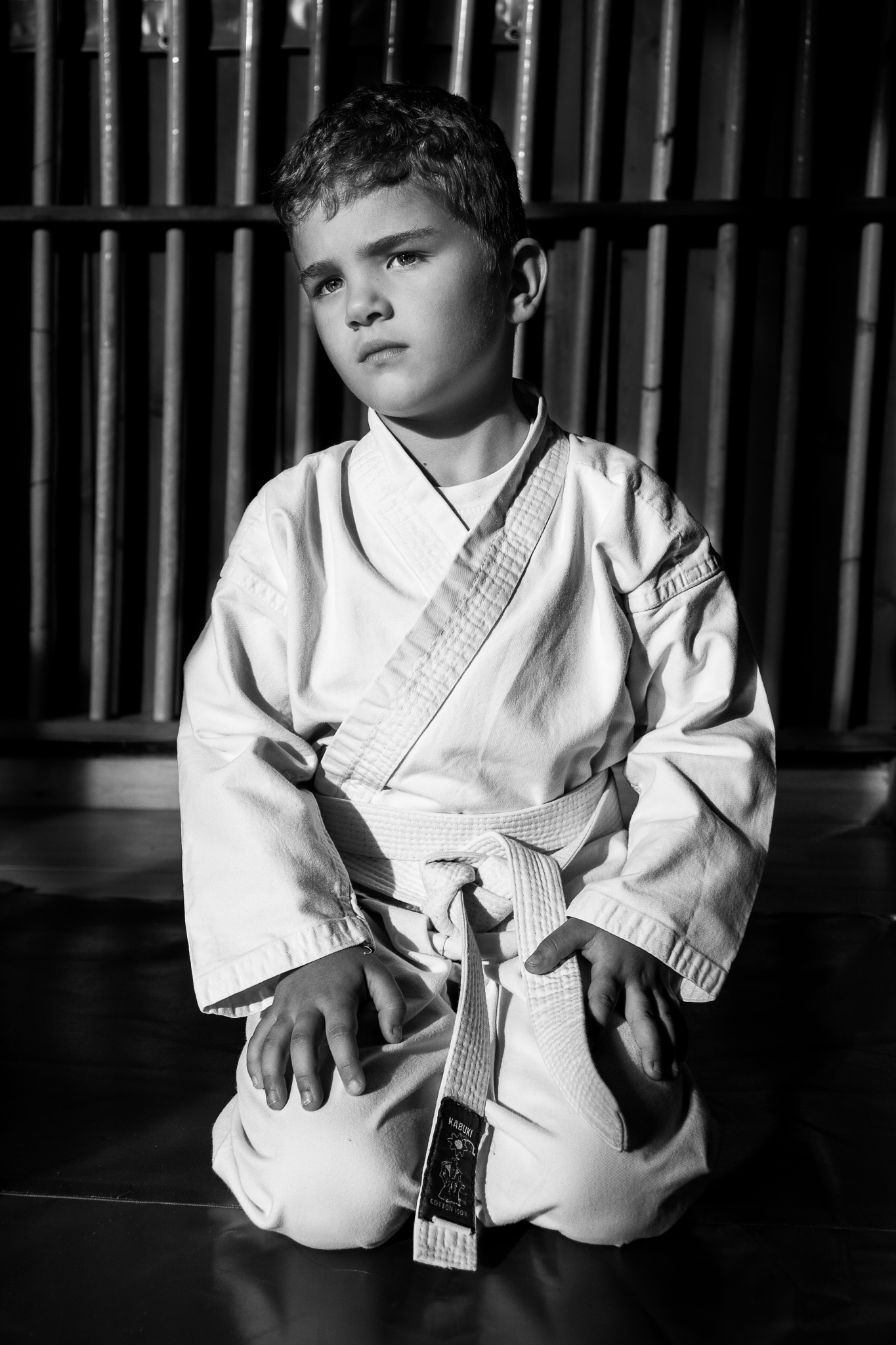 Photo in Portrait #protrait #child #black #white #jujitsu #martial art