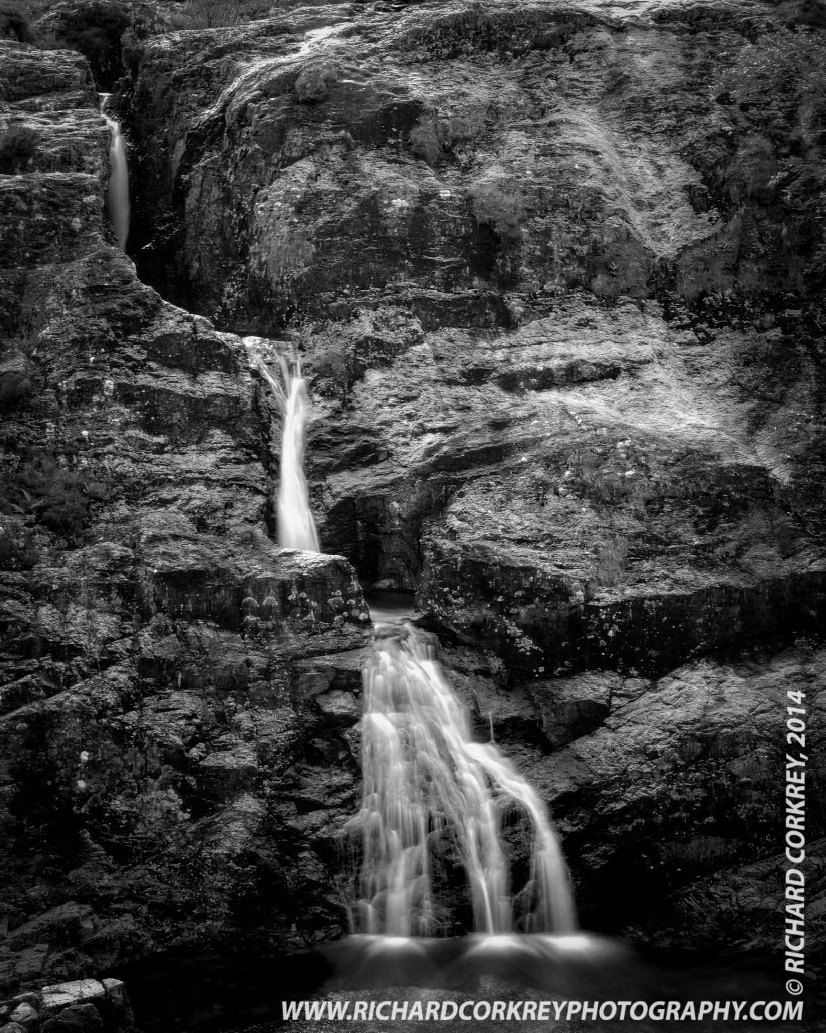 Waterfall at The Meeting of the Three Waters, Glencoe by Richard Corkrey