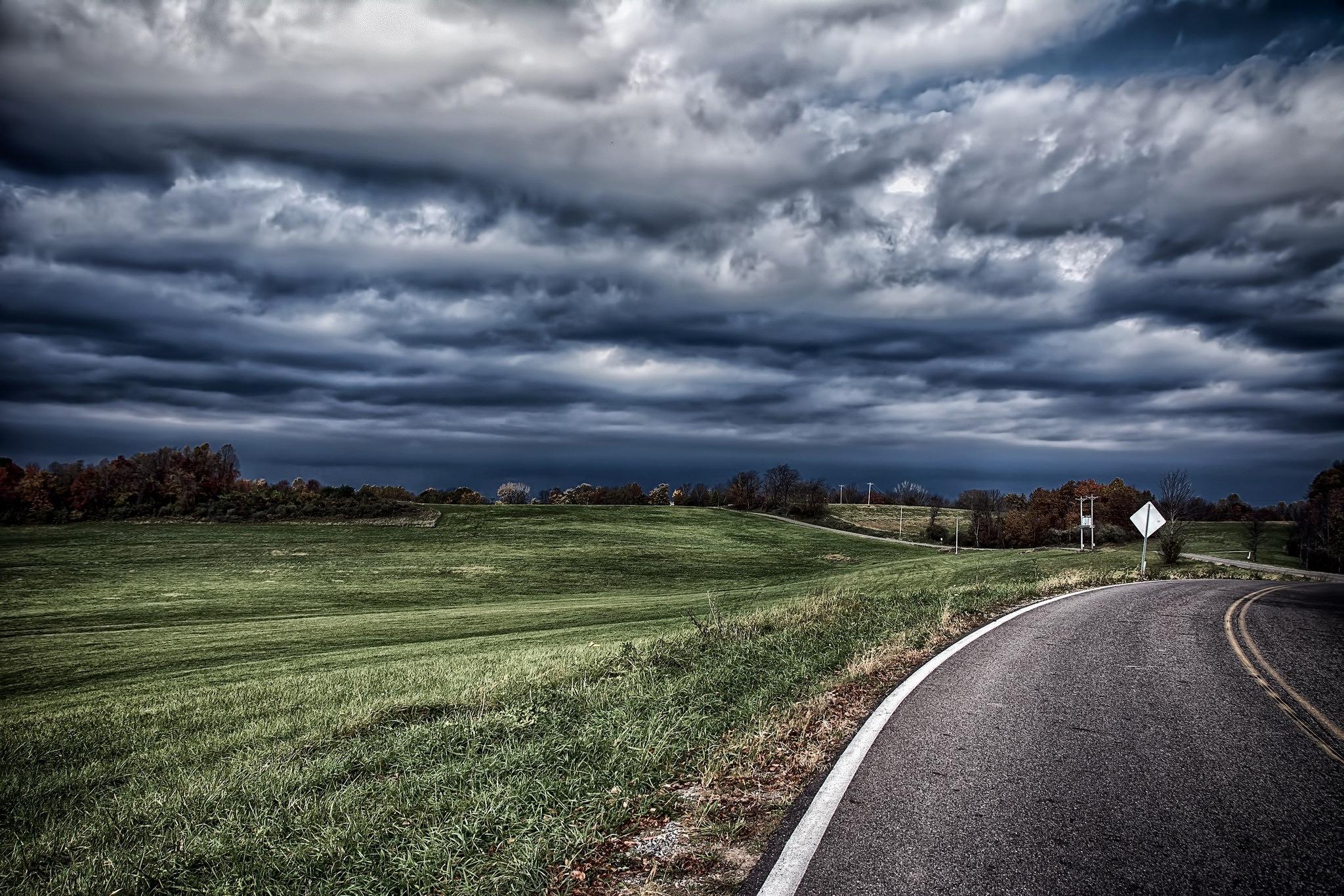Dark Skies Long Road by 68steelphotos