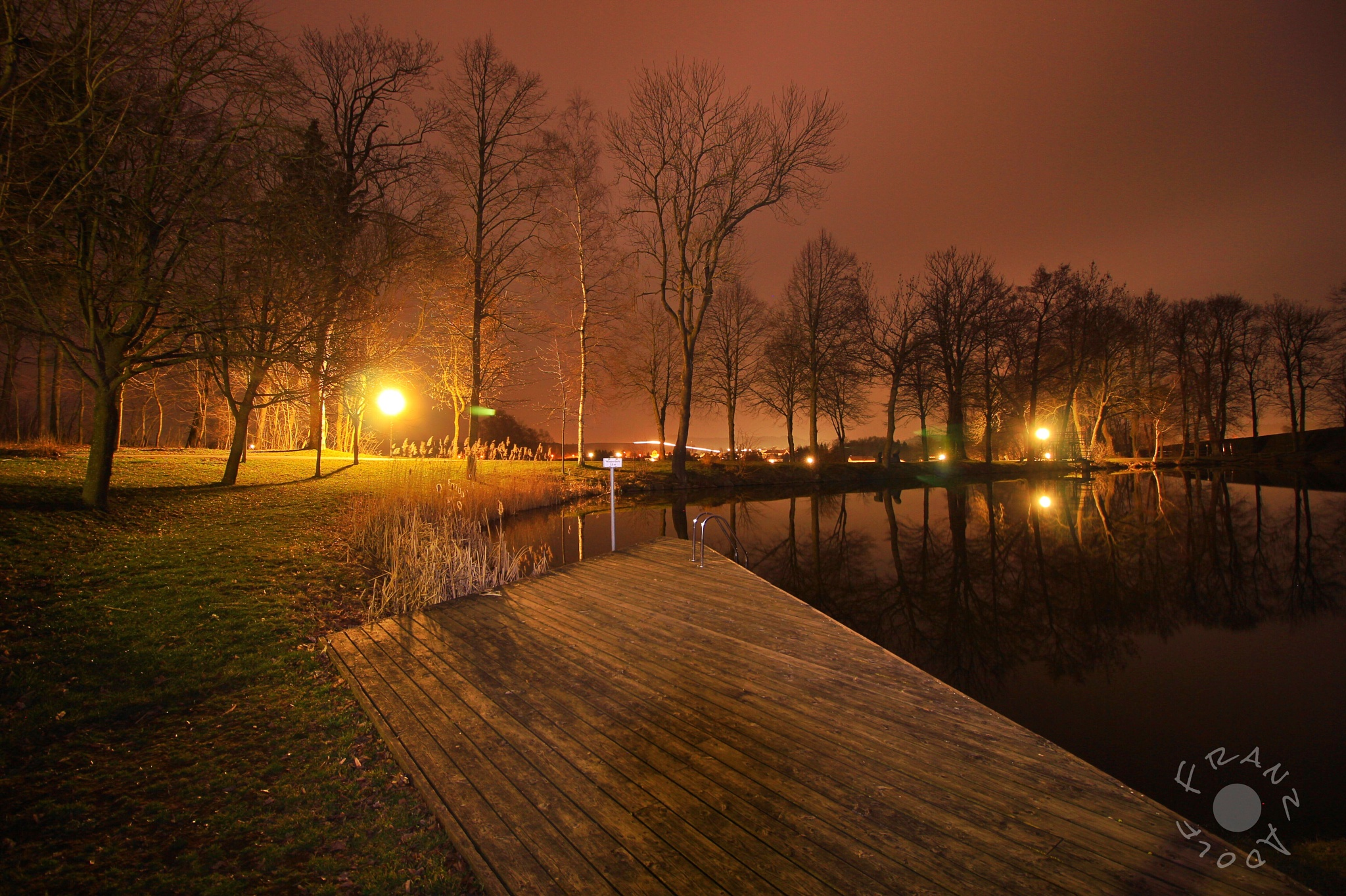 Photo in Landscape #pond #lake #water #night #trees #tree