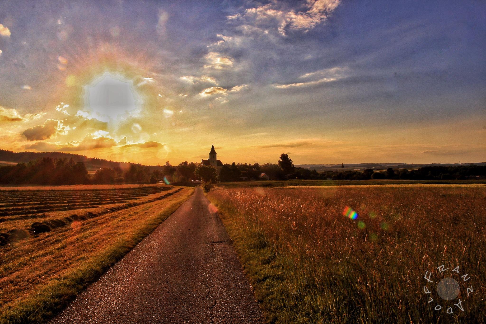 Sunset in Ratschenhof near Zwettl in Austria  by Franzl