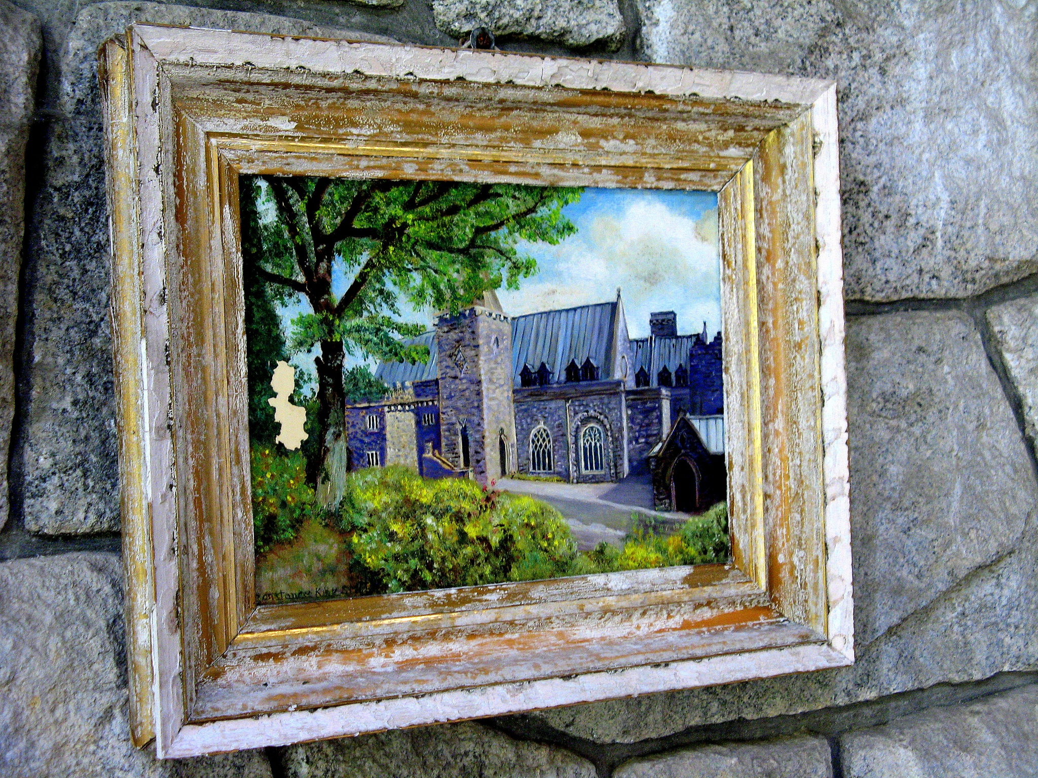 painting of Saint Conan's Kirk on a wall of the church by Stephan Graumann
