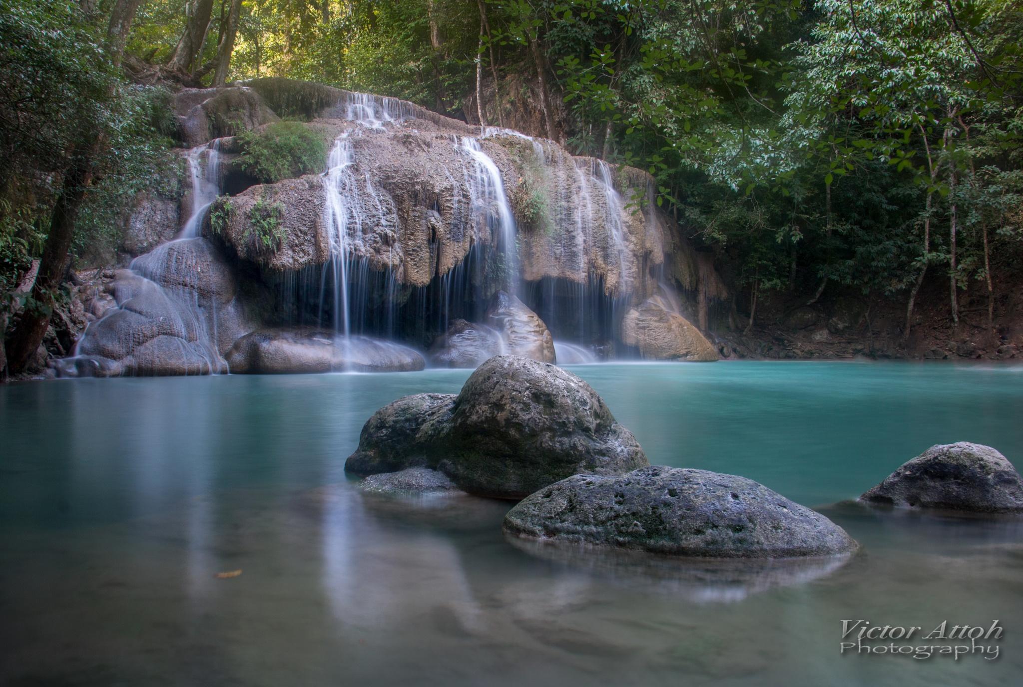 Erawan Fall, Thailand by Victor A