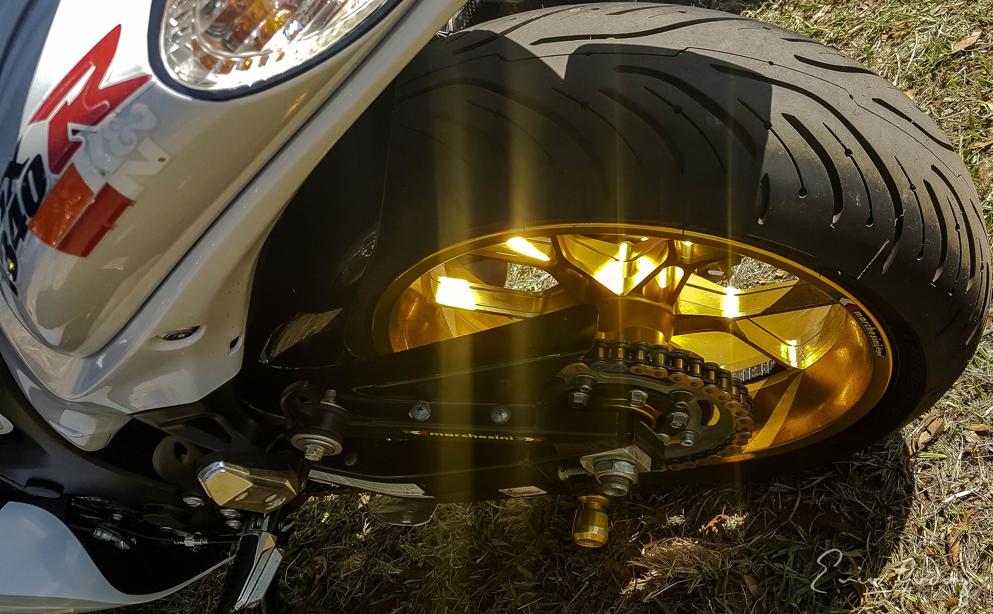 Photo in Fine Art #wheel #golden #goldenwheel #samsungs6 #samsunggalaxy #galaxys6 #samsunggalxys6 #mobile #mobilephoto #mobilephotography #mobileart #reflections #reflex #tyre #motorcicle