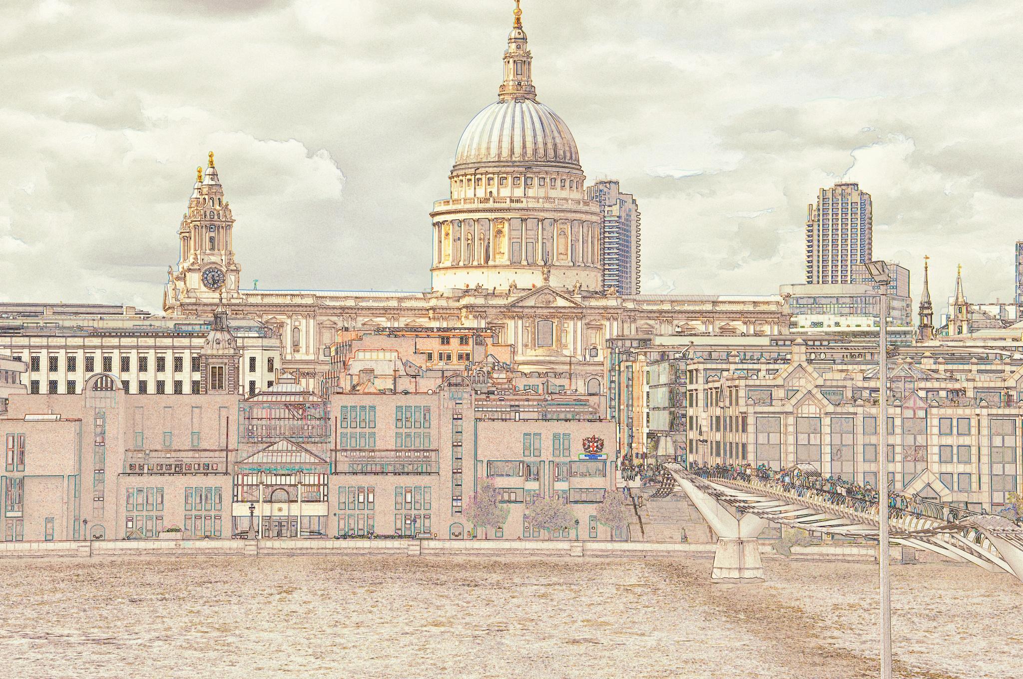 St Pauls & the Millenium Bridge by Jim Obee
