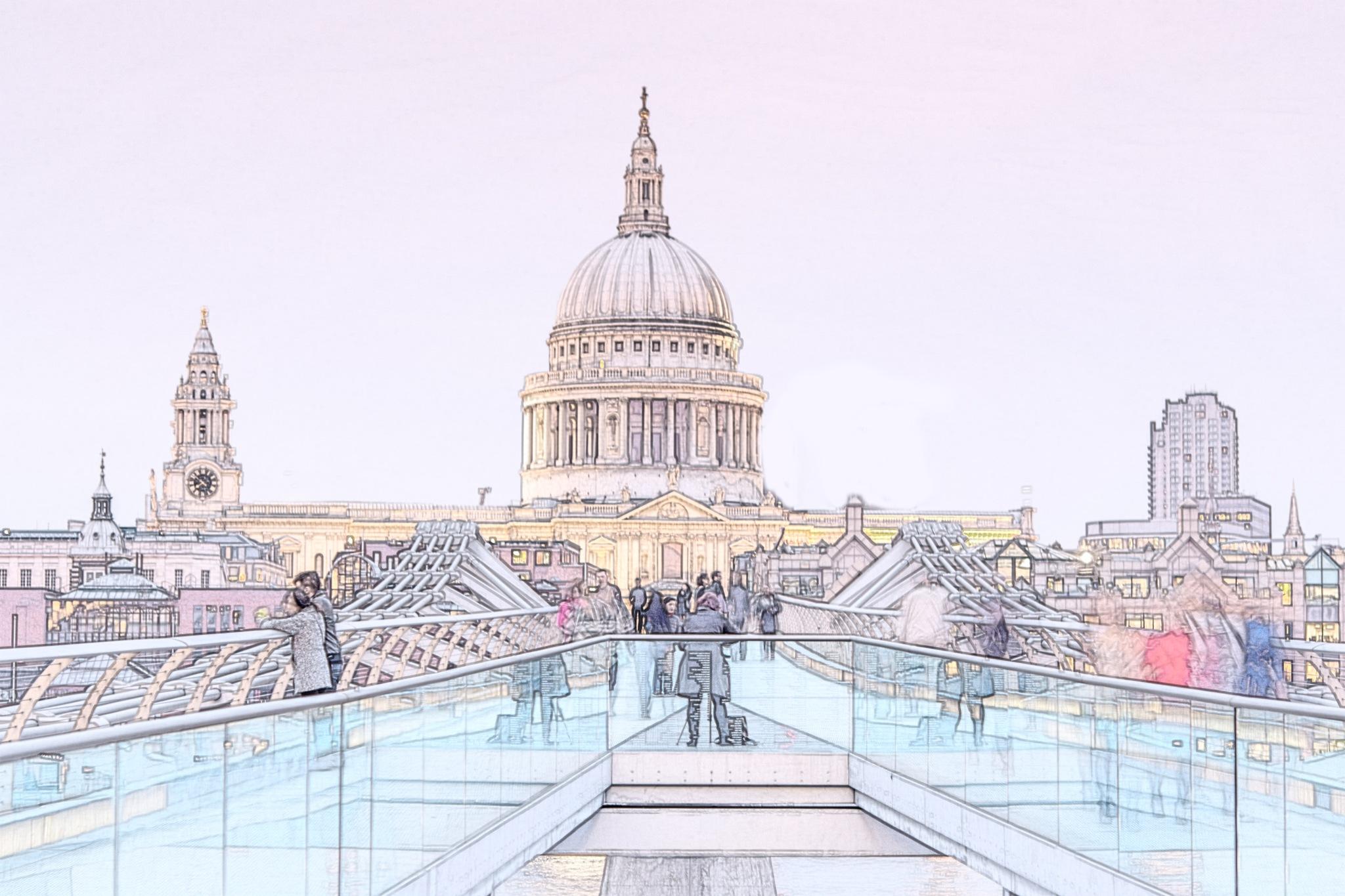 St Pauls Cathedral & The Millennium Bridge by Jim Obee