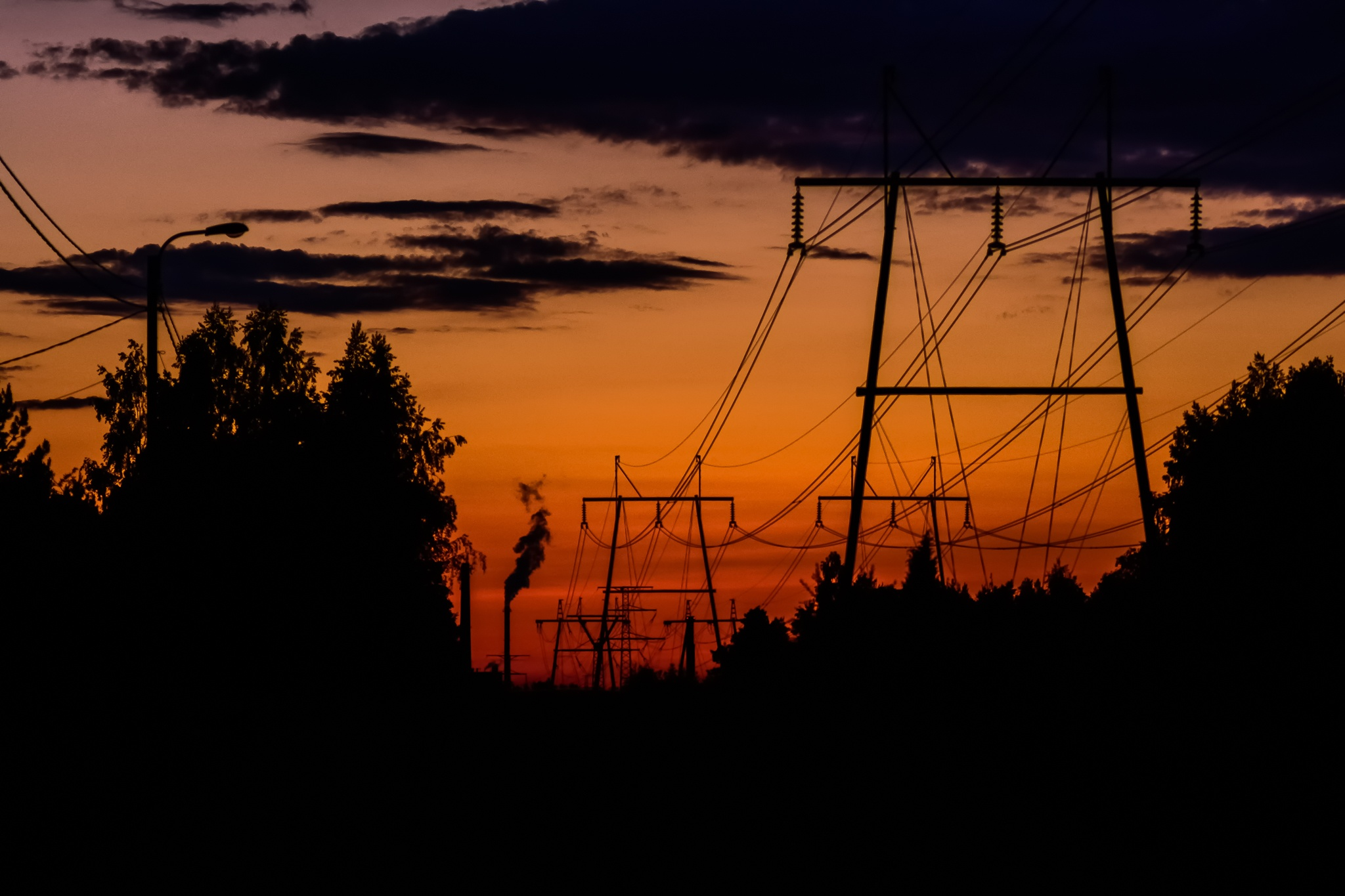 Photo in Urban #inkeroinen #sunset #colorful #beautiful #finland #factory #electricity #cables #electric #silhouette #summer #midnight #midsummer #night