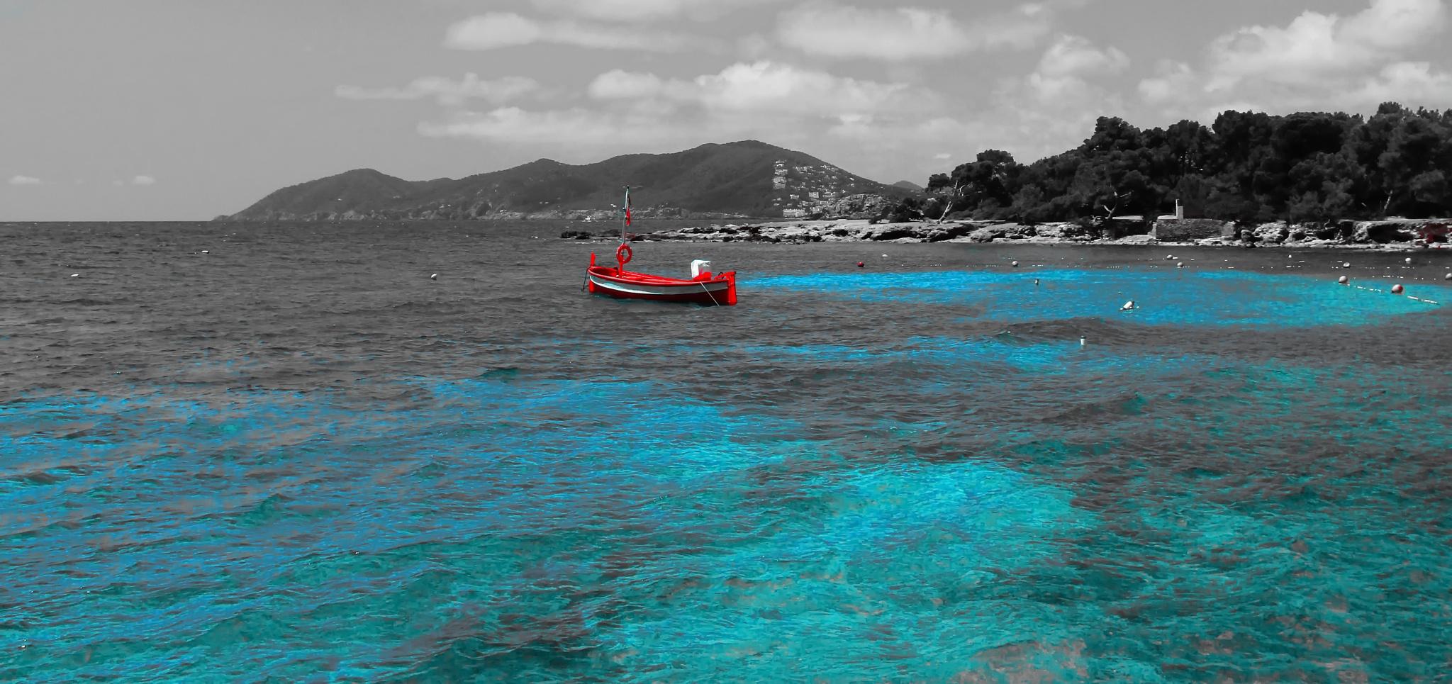 Photo in Landscape #blue #red #sea #boat #landscape