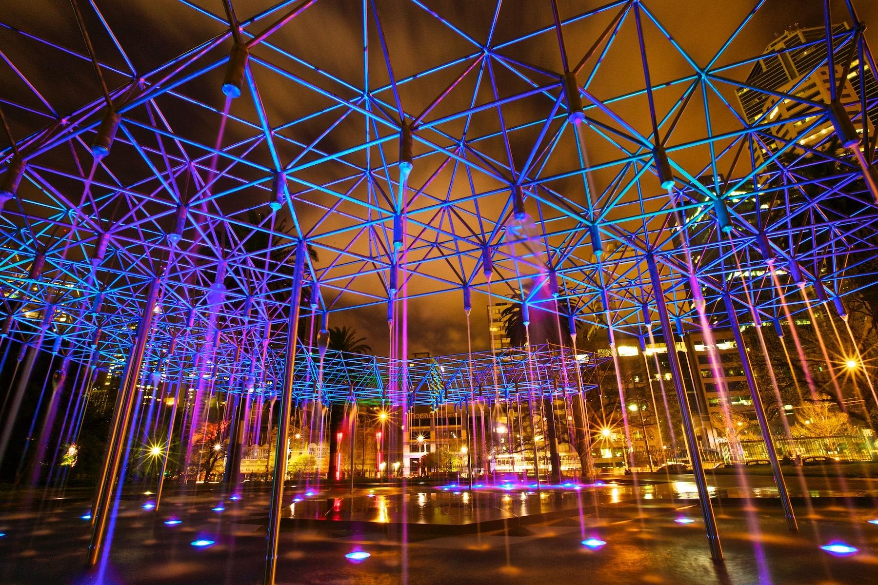 Melbourne CBD Fountain by Night by Lusanti